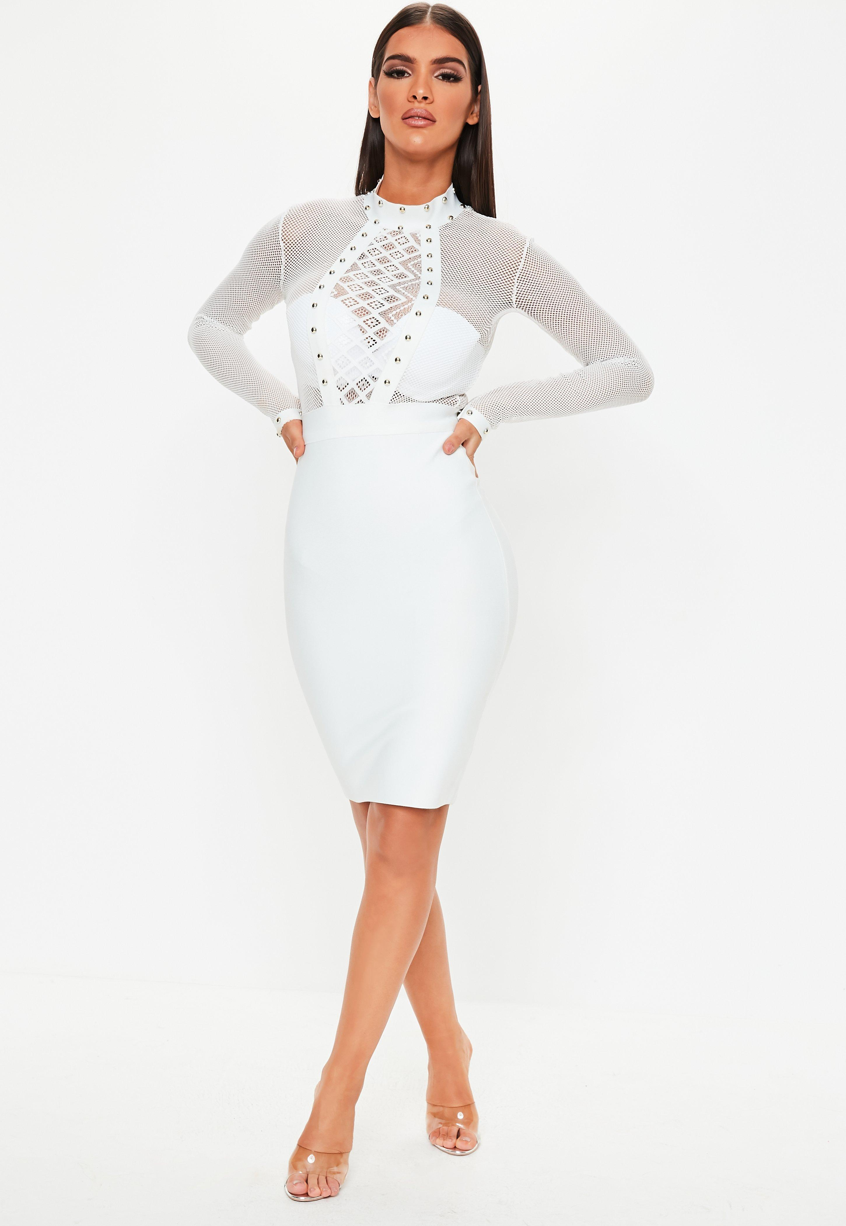 6f8bf295cdd Missguided - Premium White Lace Studded Bodycon Dress - Lyst. View  fullscreen