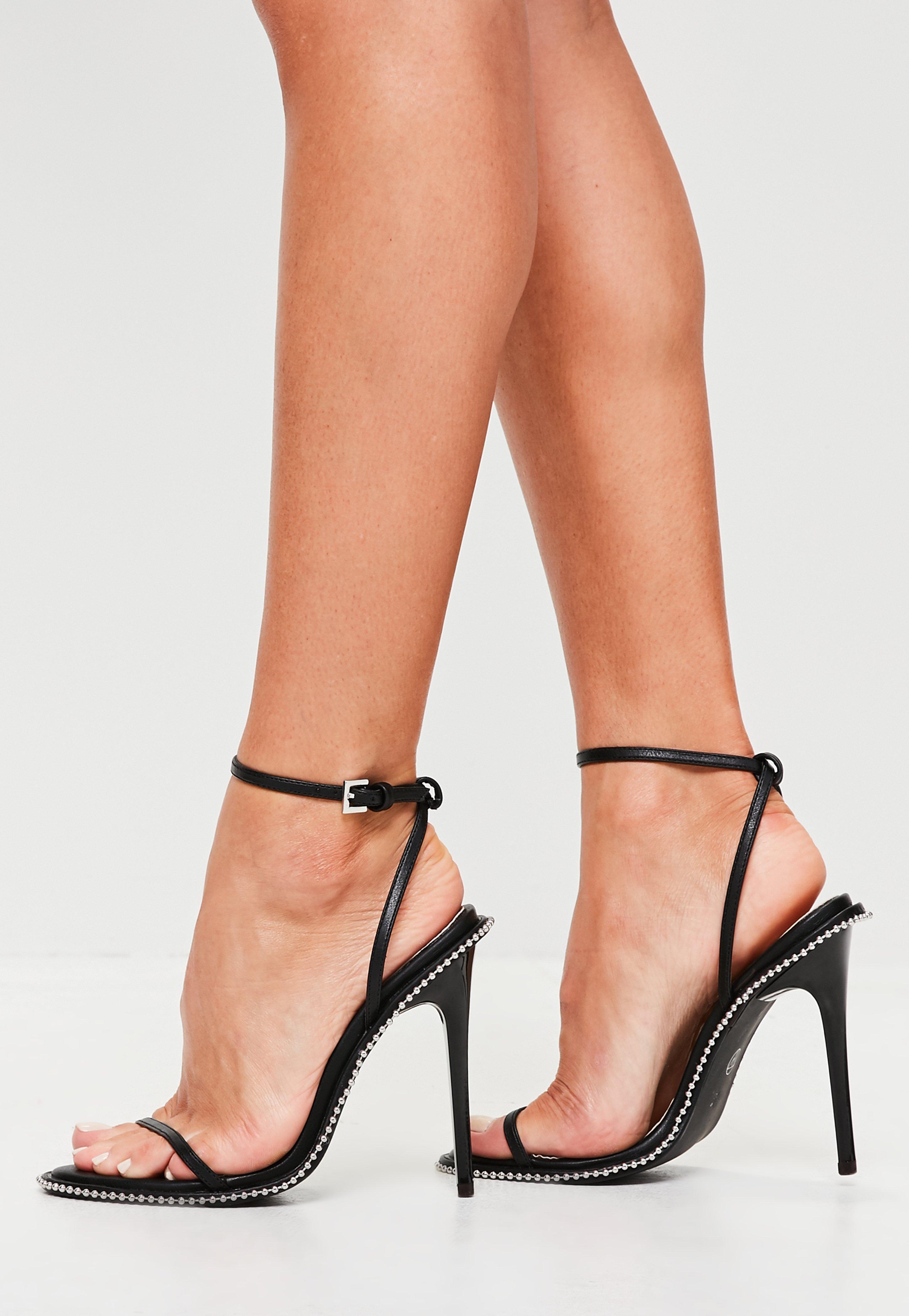 a854089962f Lyst - Missguided Black Chain Trim Sandals in Black