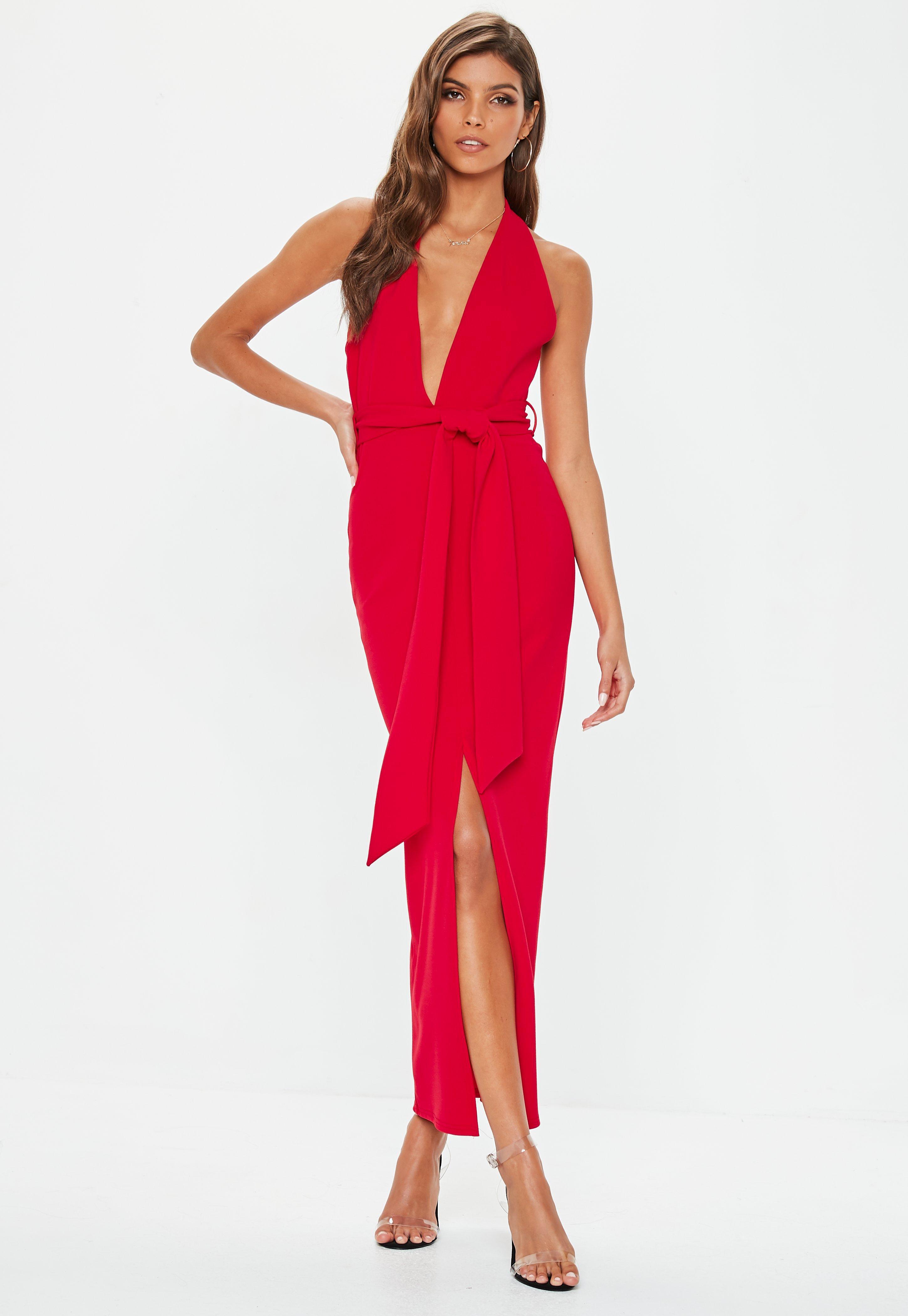993bb86d32 Lyst - Missguided Red Plunge Tie Waist Midaxi Dress in Red