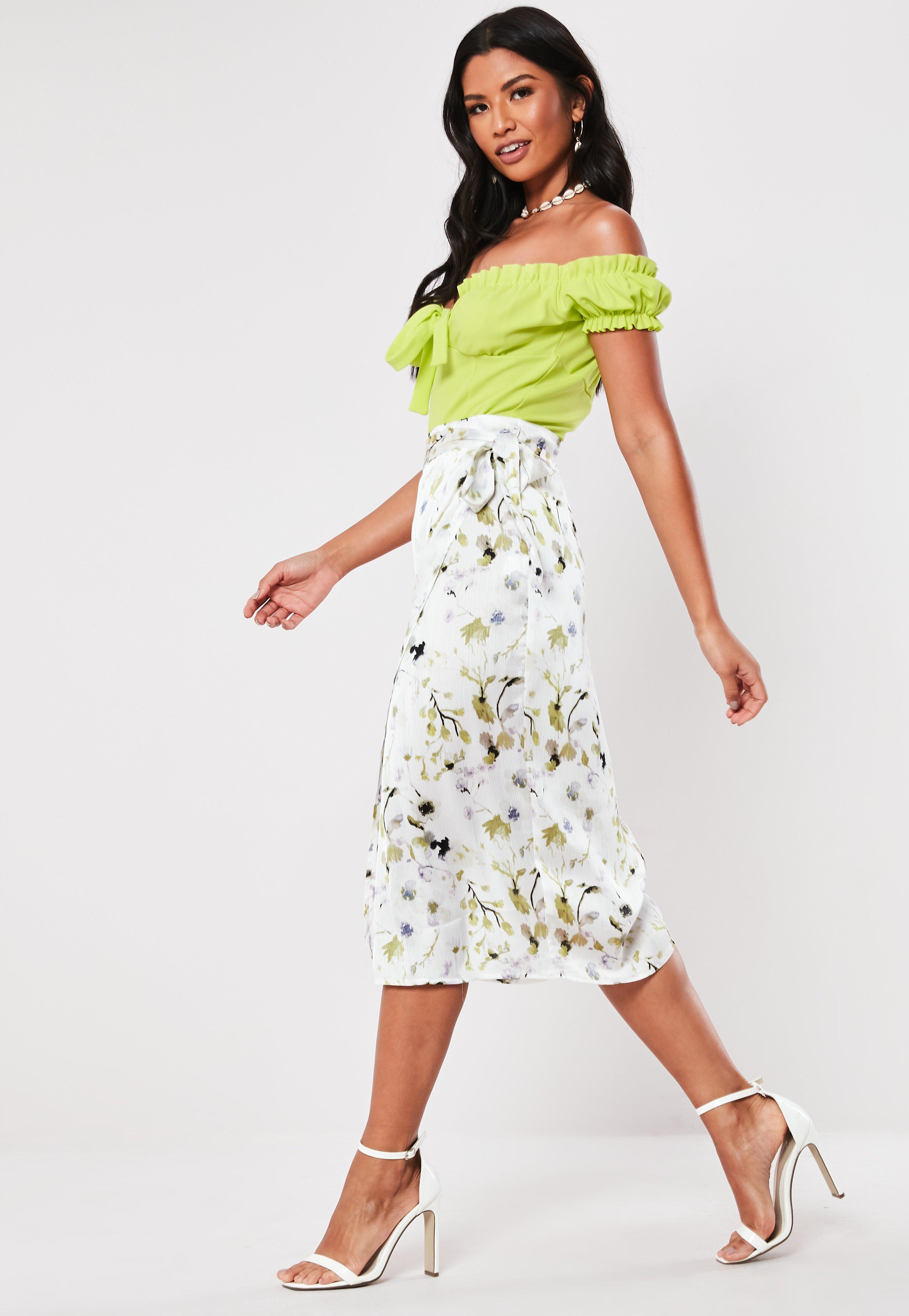 e9883cd13 Missguided - White Floral Wrap Tie Midi Skirt - Lyst. View fullscreen