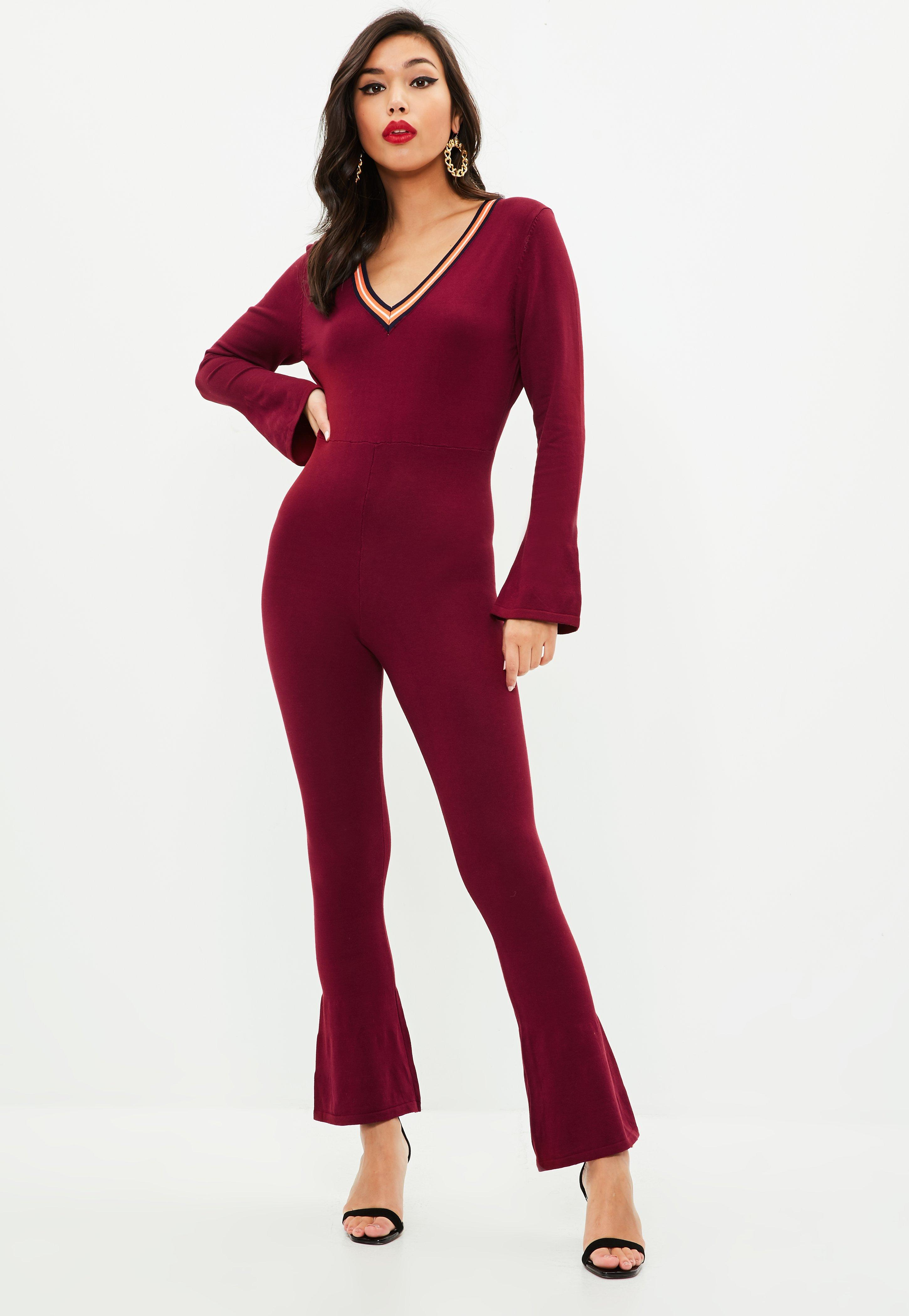 39cbf86ae61 Missguided Burgundy Knitted Stripe Jumpsuit in Red - Lyst