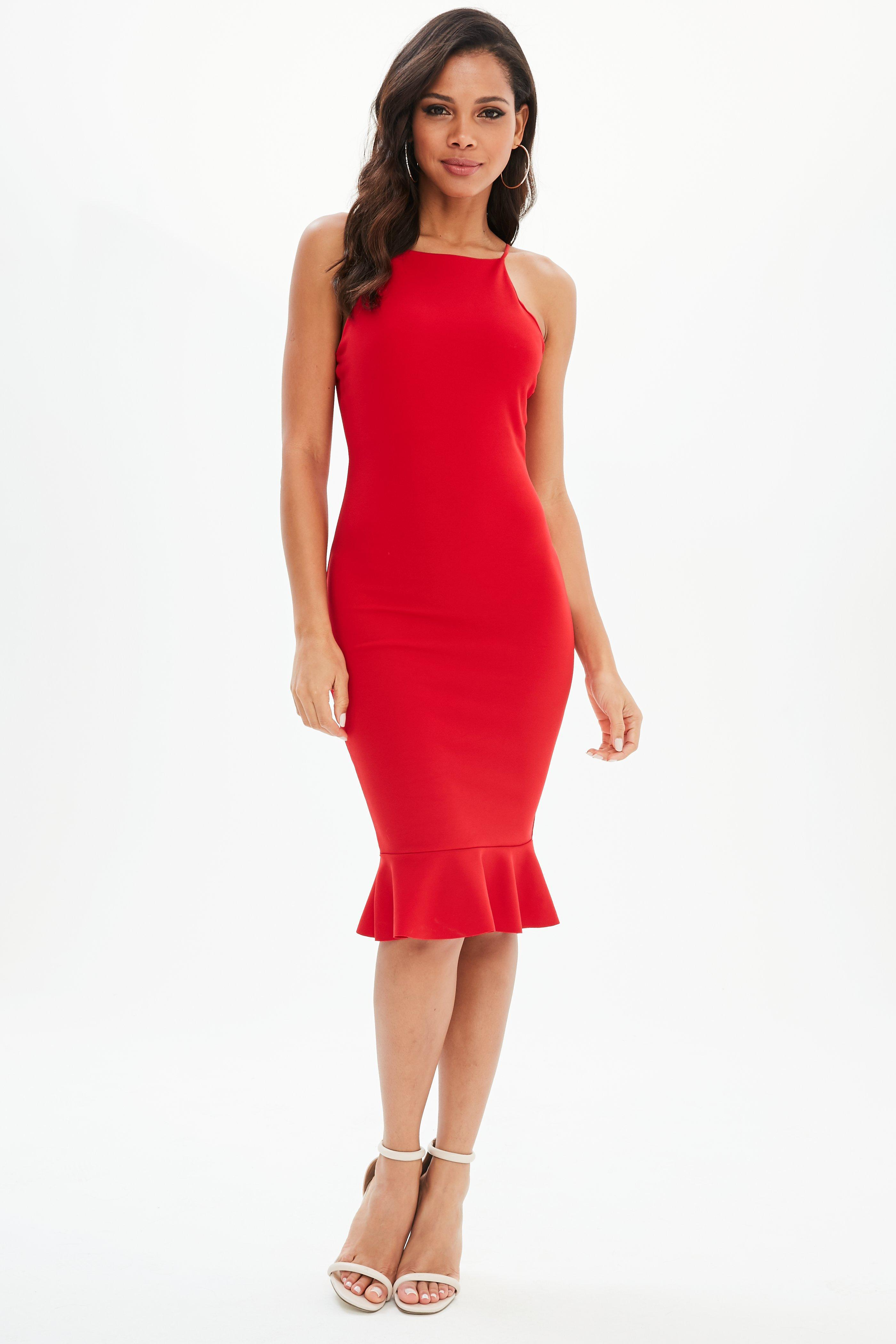 f437305cdd1a2 Lyst - Missguided Red Scuba Square Neck Frill Hem Midi Dress in Red
