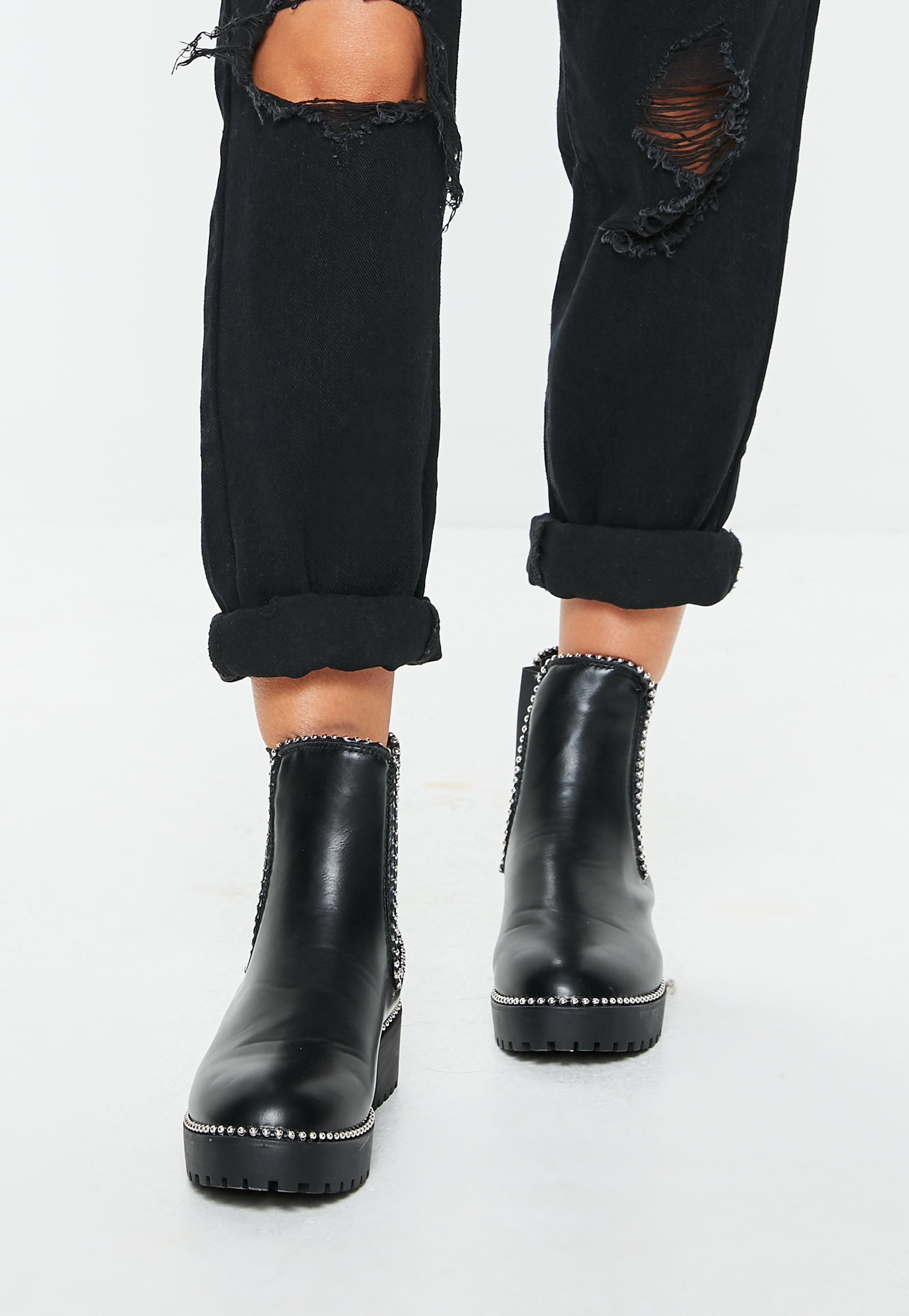 4f86e75eb9b Missguided Black Pu Silver Trim Chunky Ankle Boots in Black - Lyst