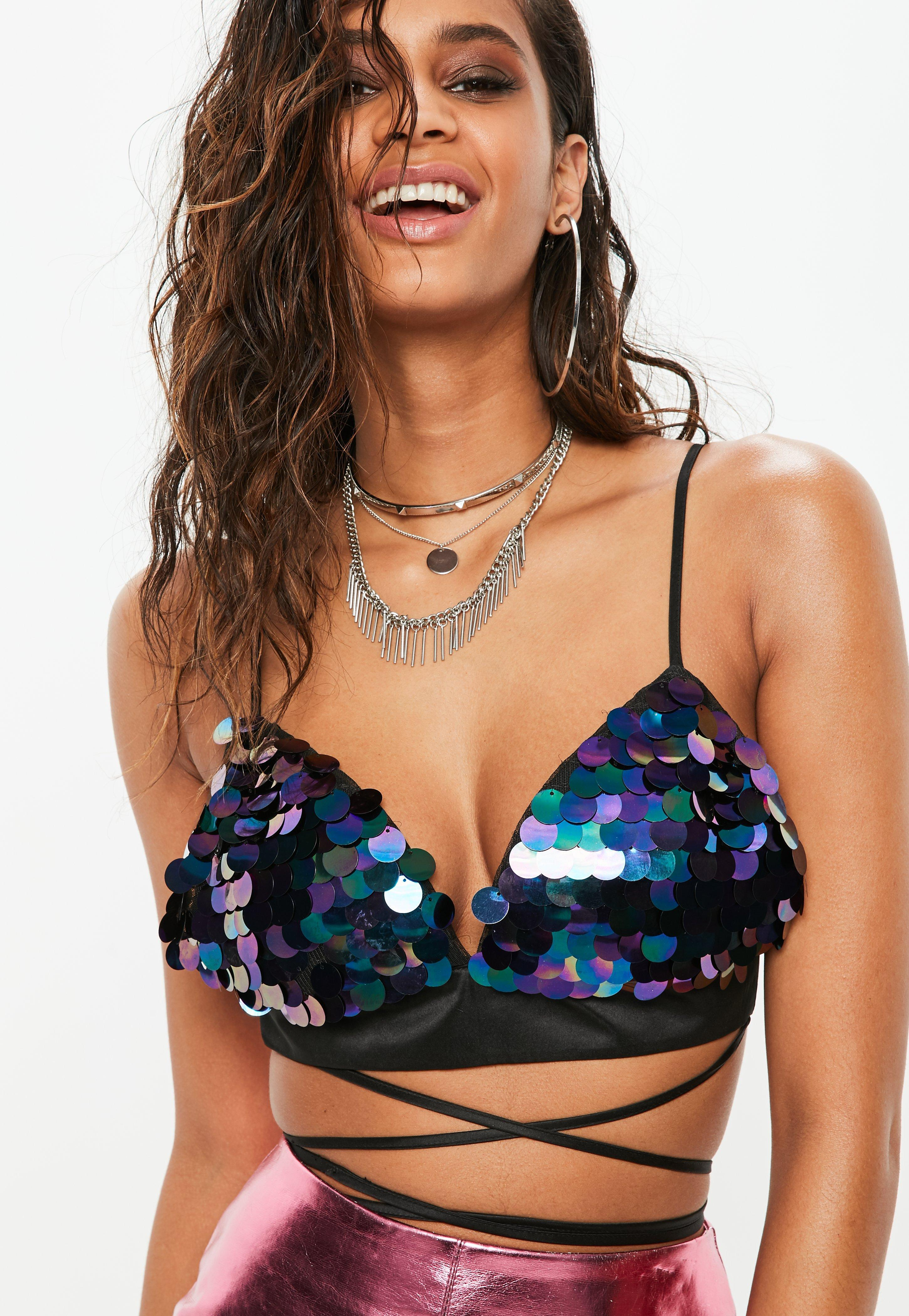 d31b99bfb51 Lyst - Missguided Black Iridescent Sequin Multi Wrap Bralet in Black