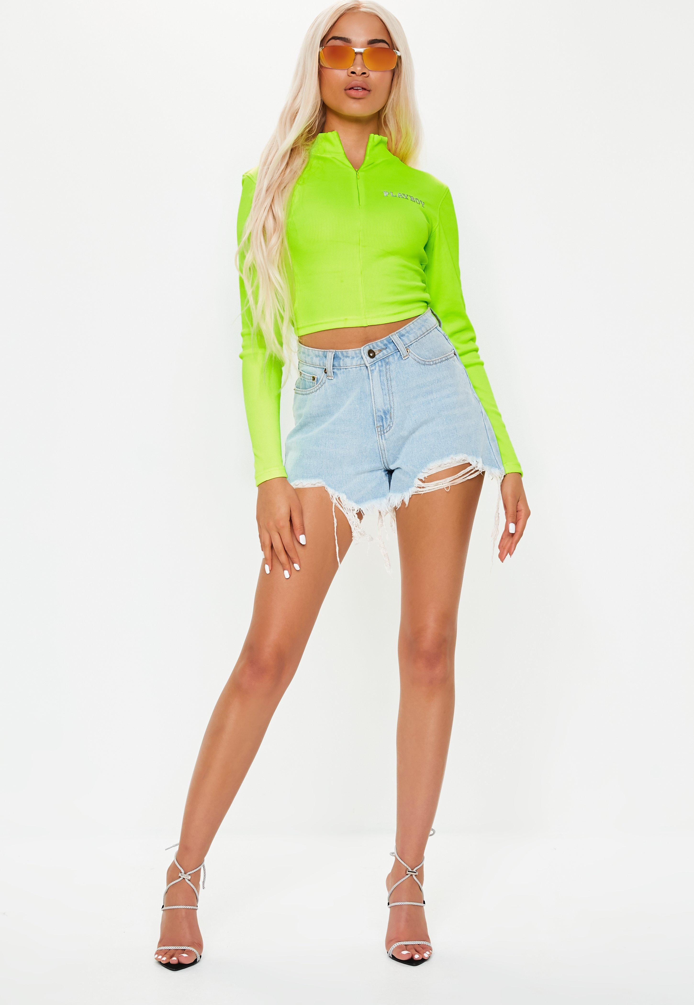 8fe07d1a93 Missguided Playboy X Lime Ribbed Crop Top in Green - Lyst