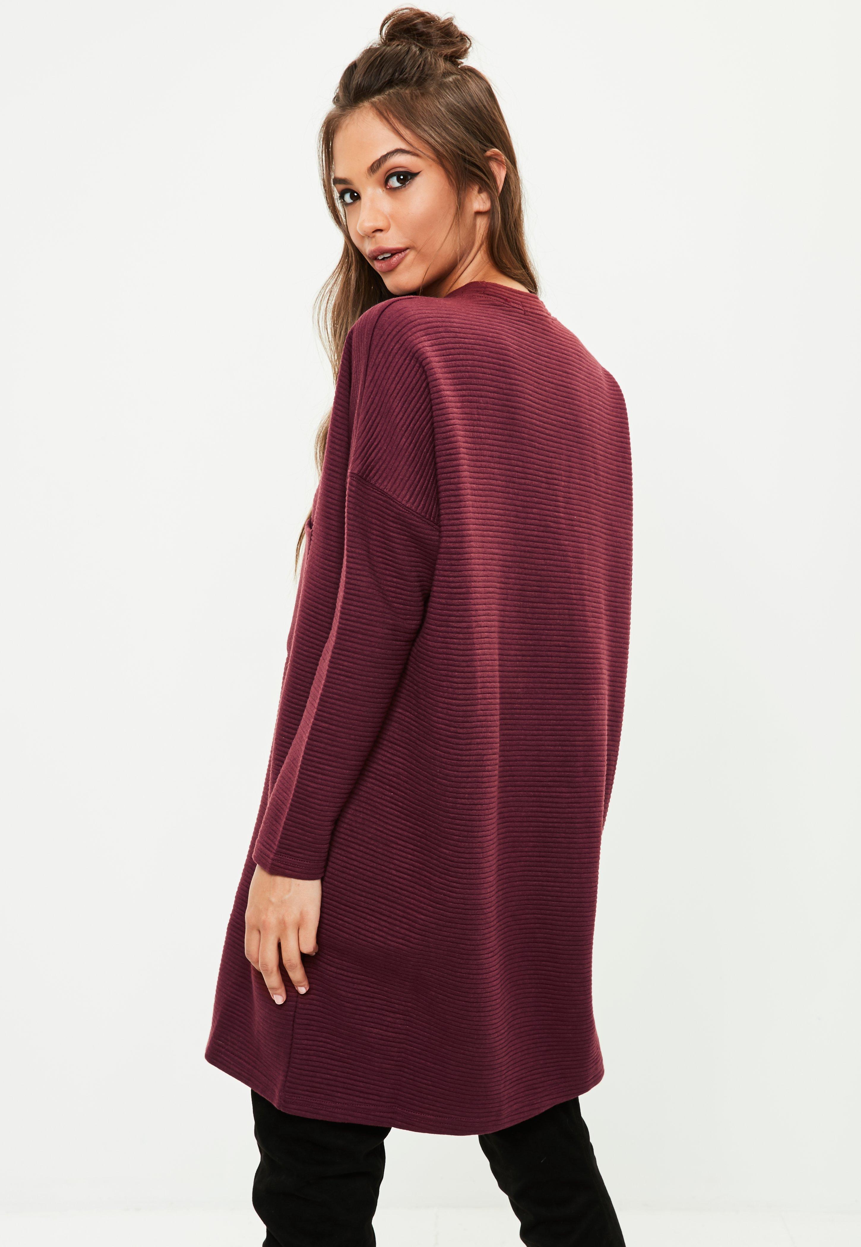Burgundy Pocket Dress Ribbed Lyst Missguided Sweater VqUMSzpG