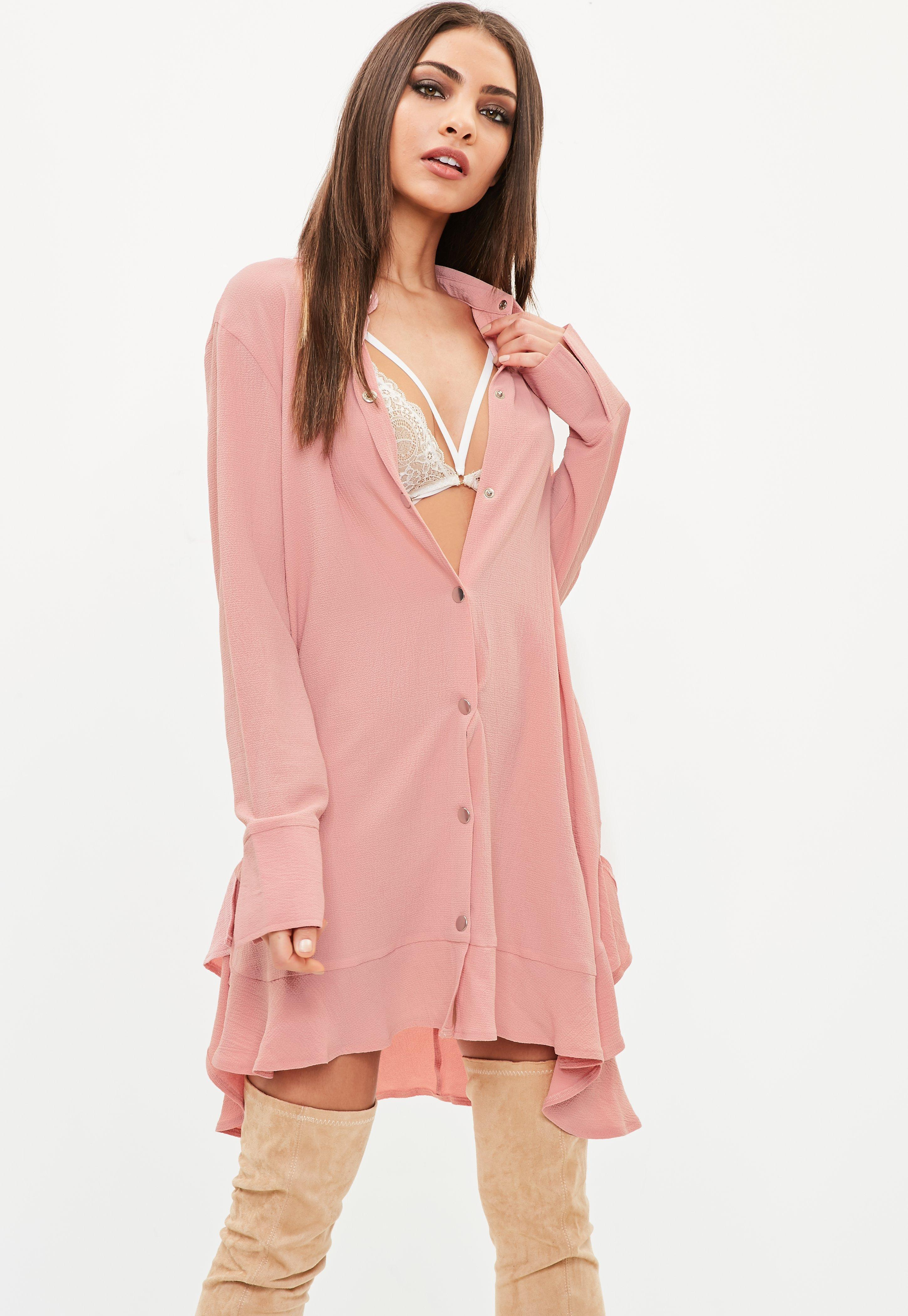 fb3e11c239ef Lyst - Missguided Pink Long Sleeve Frill Hem Shirt Dress in Pink