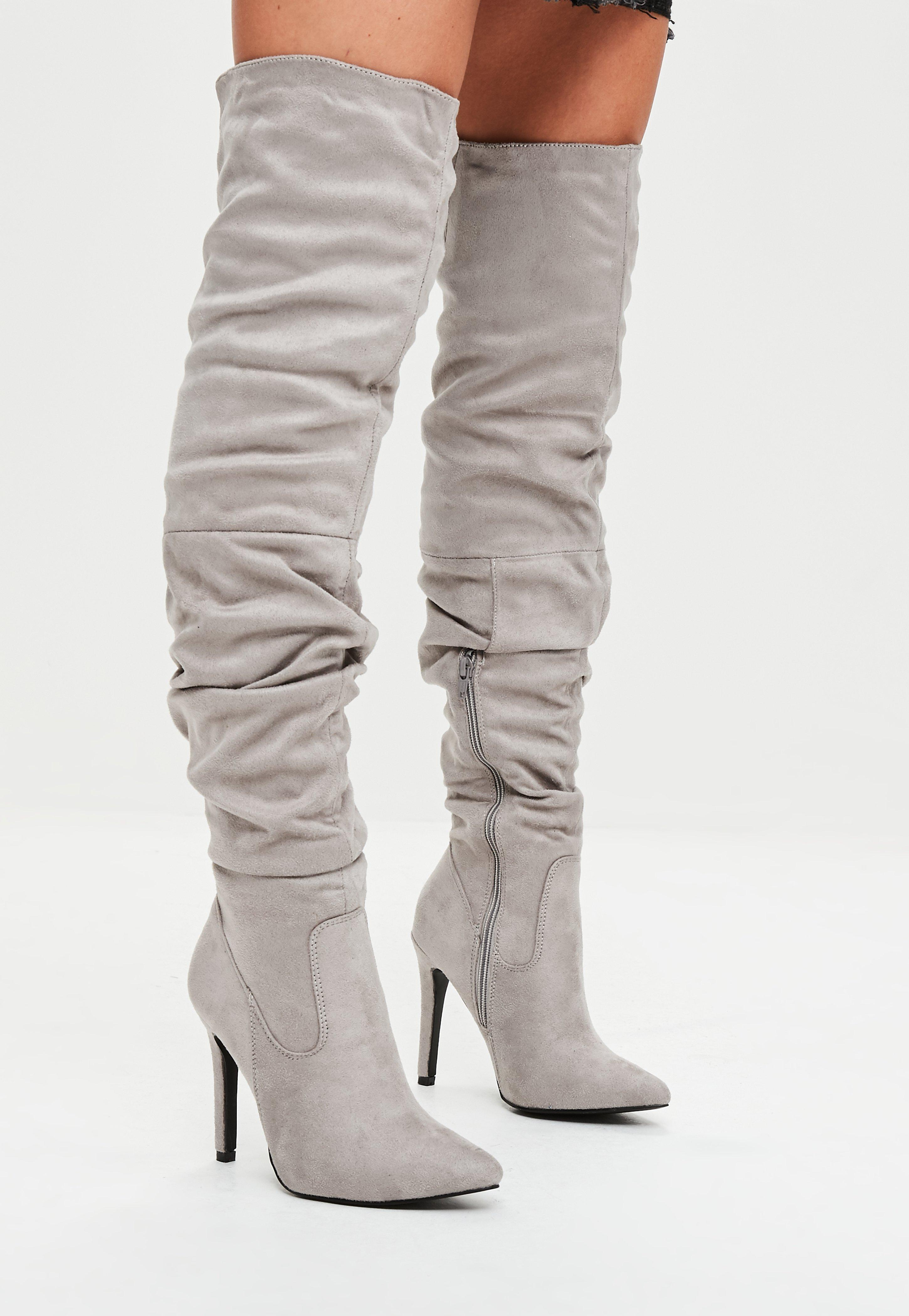 d6c5dc928d6 Missguided Grey Faux Suede Over The Knee Ruched Boots in Gray - Lyst