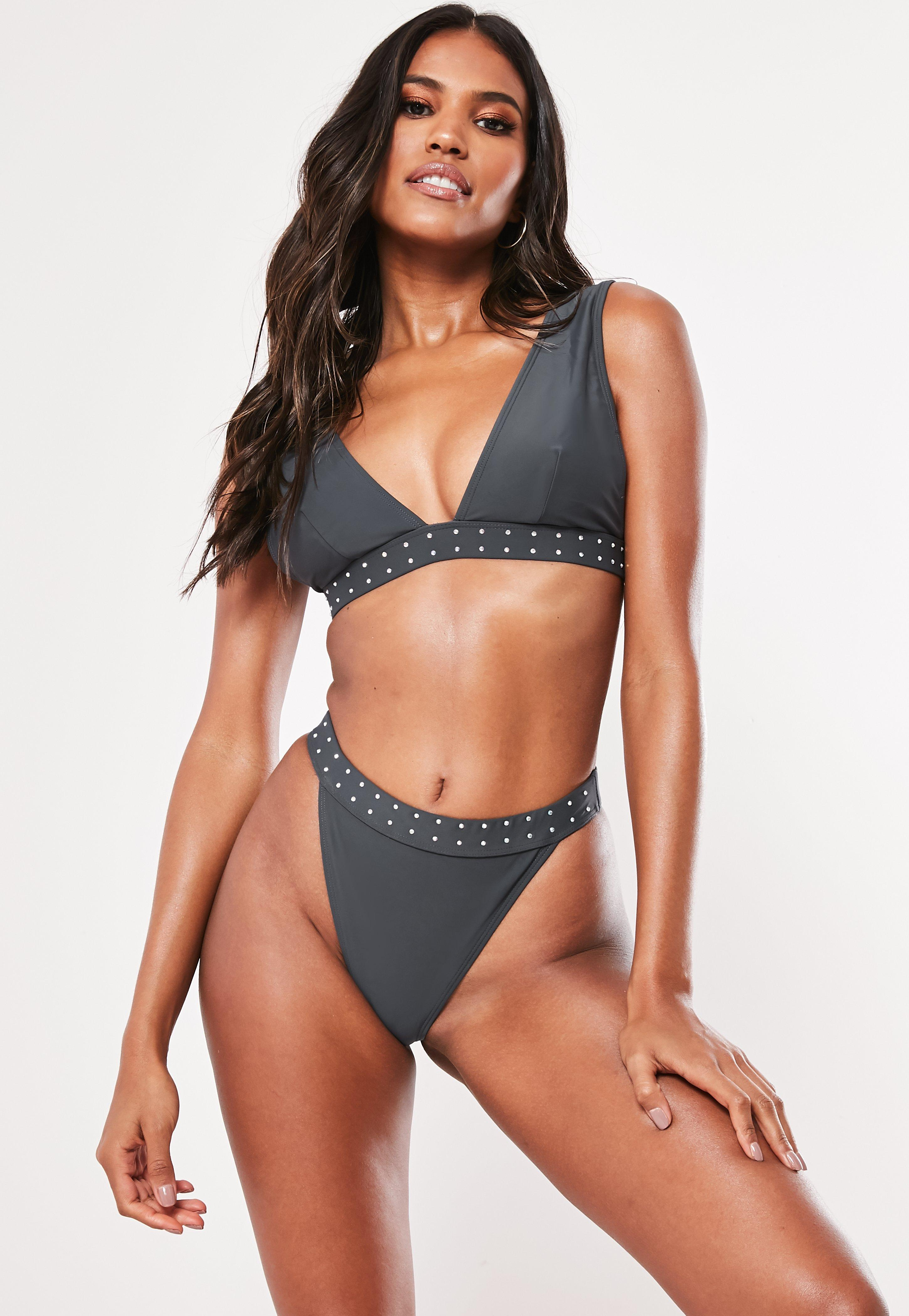 b46d775f4e1 Missguided Grey Diamante Trim Plunge Bikini Top in Gray - Save 33 ...