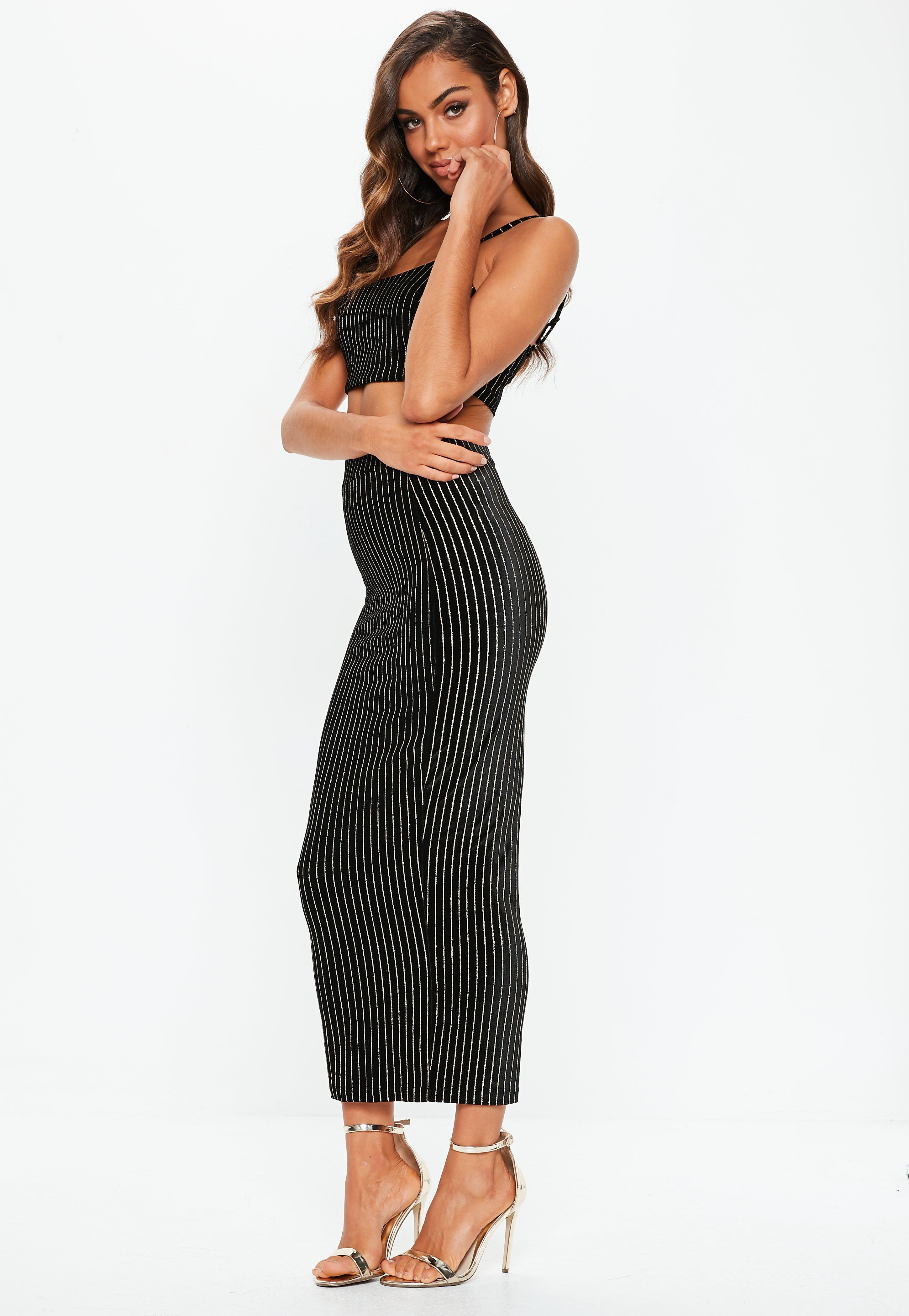 30600cef1 Missguided Black Velvet Glitter Stripe Cami Crop And Midi Co-ord in ...