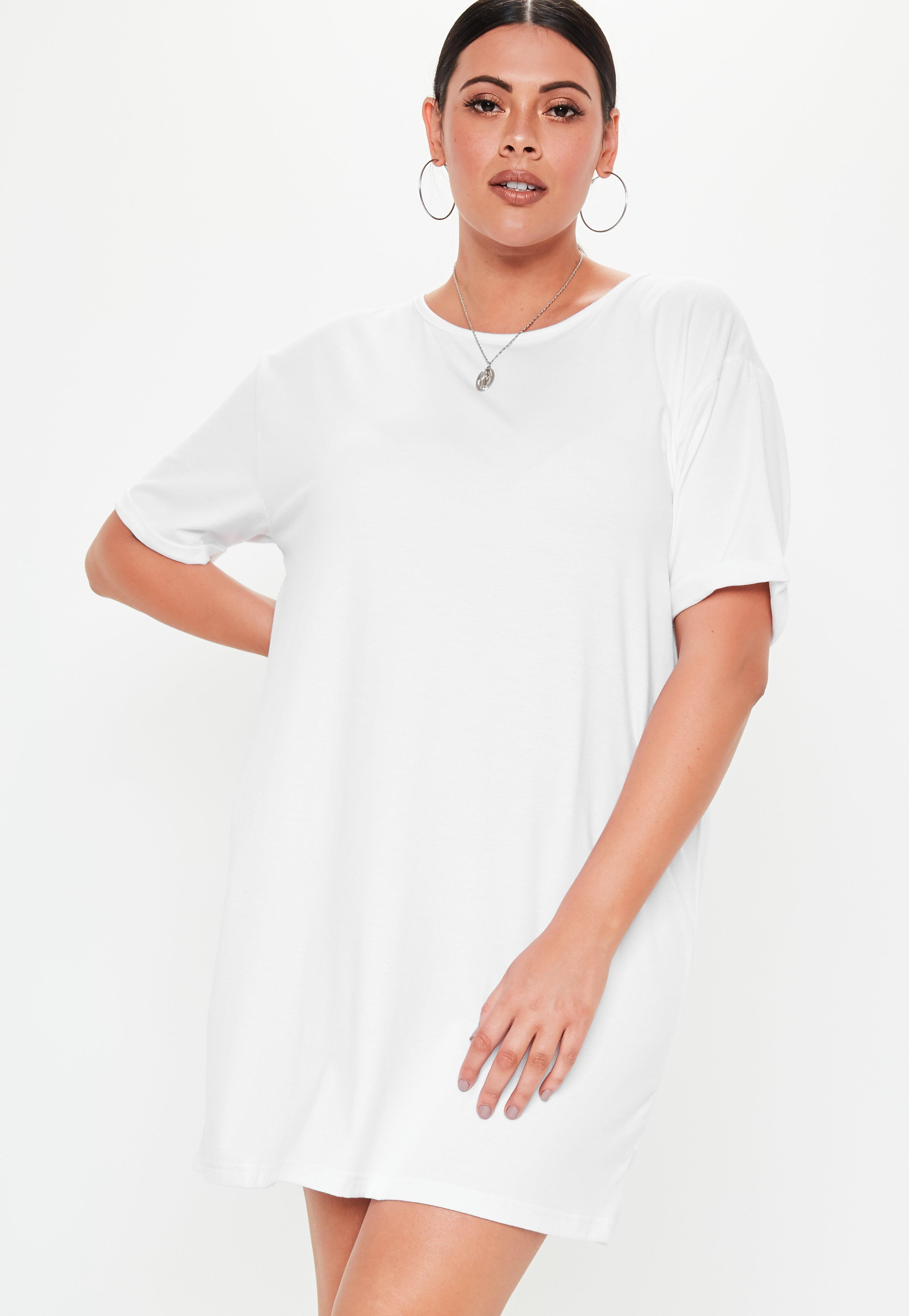 Plus Size White Oversized T Shirt Dress