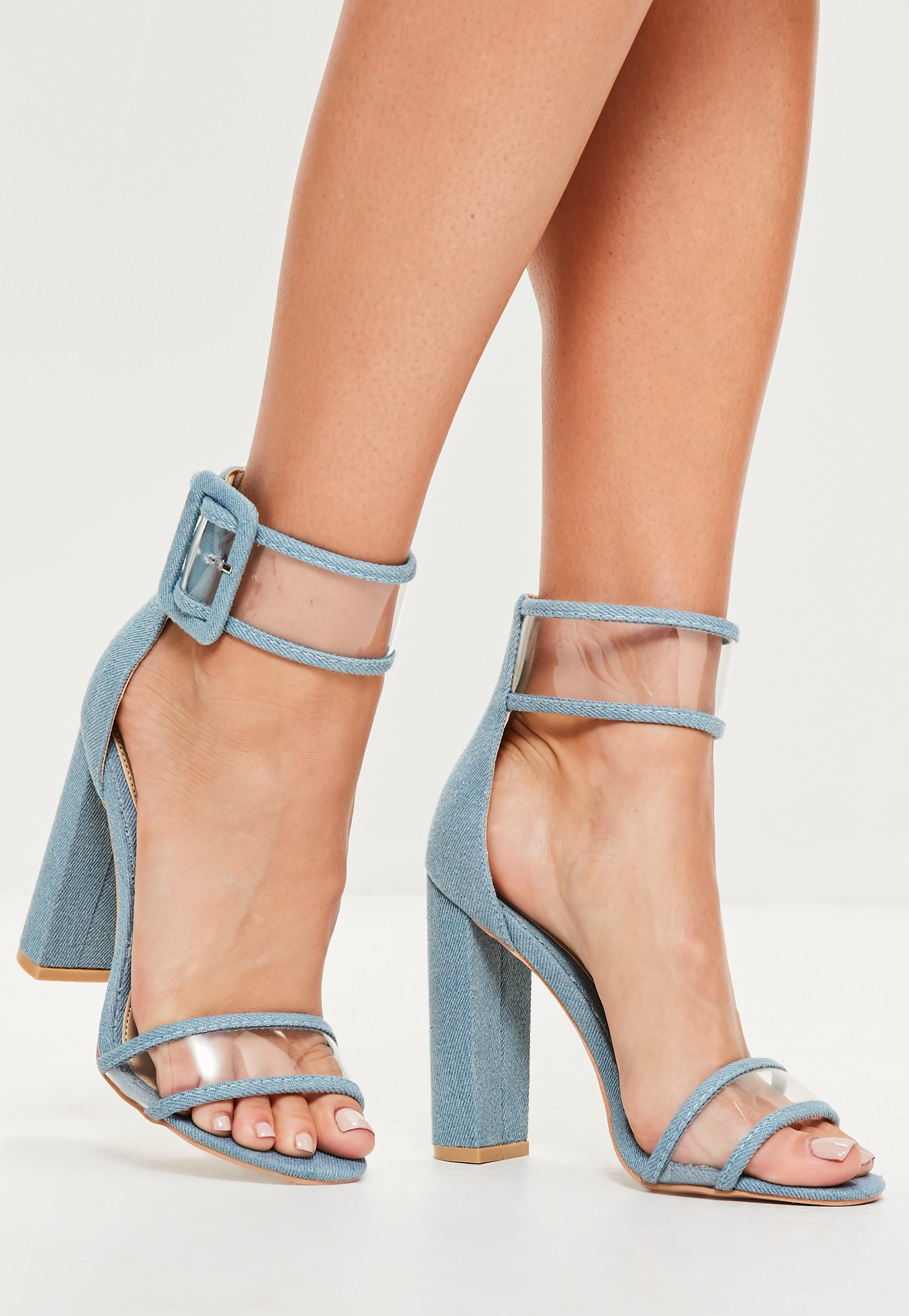60b2625c4 Lyst - Missguided Blue Denim Clear Ankle Strap Block Heels in Blue