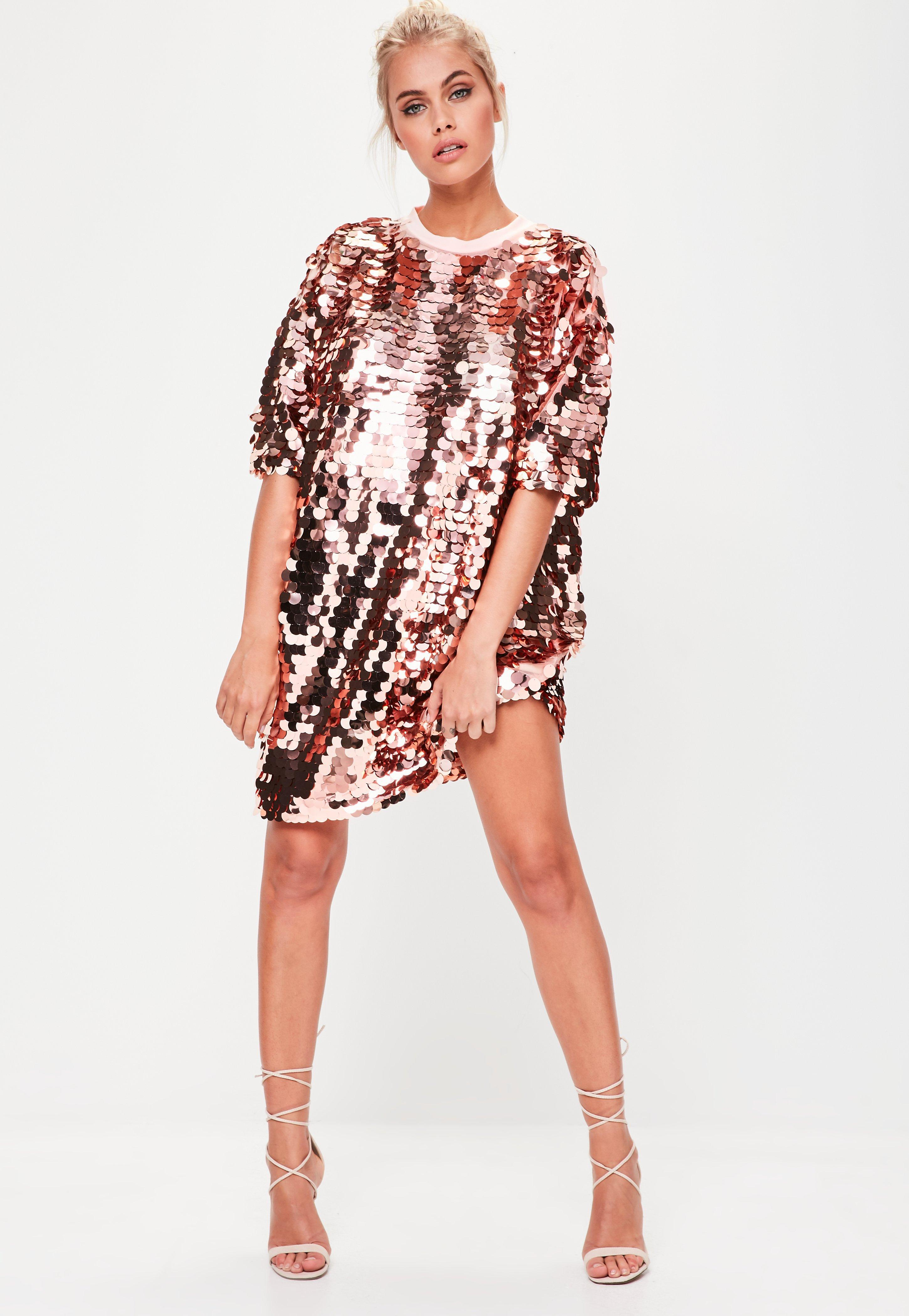 44fc2ae51b7 Lyst - Missguided Rose Gold Sequin T-shirt Dress in Pink