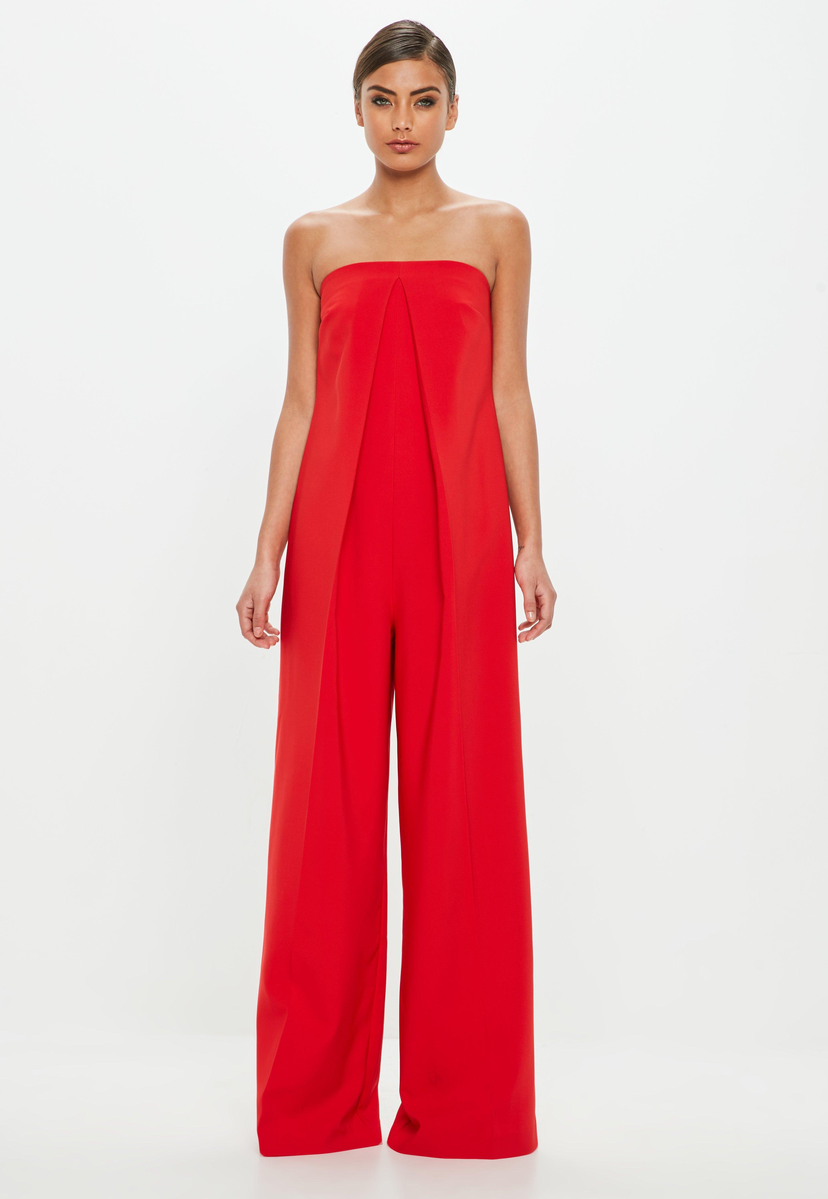 4e8f9c9eb253 Lyst - Missguided Peace + Love Red Bandeau Front Pleat Jumpsuit in Red