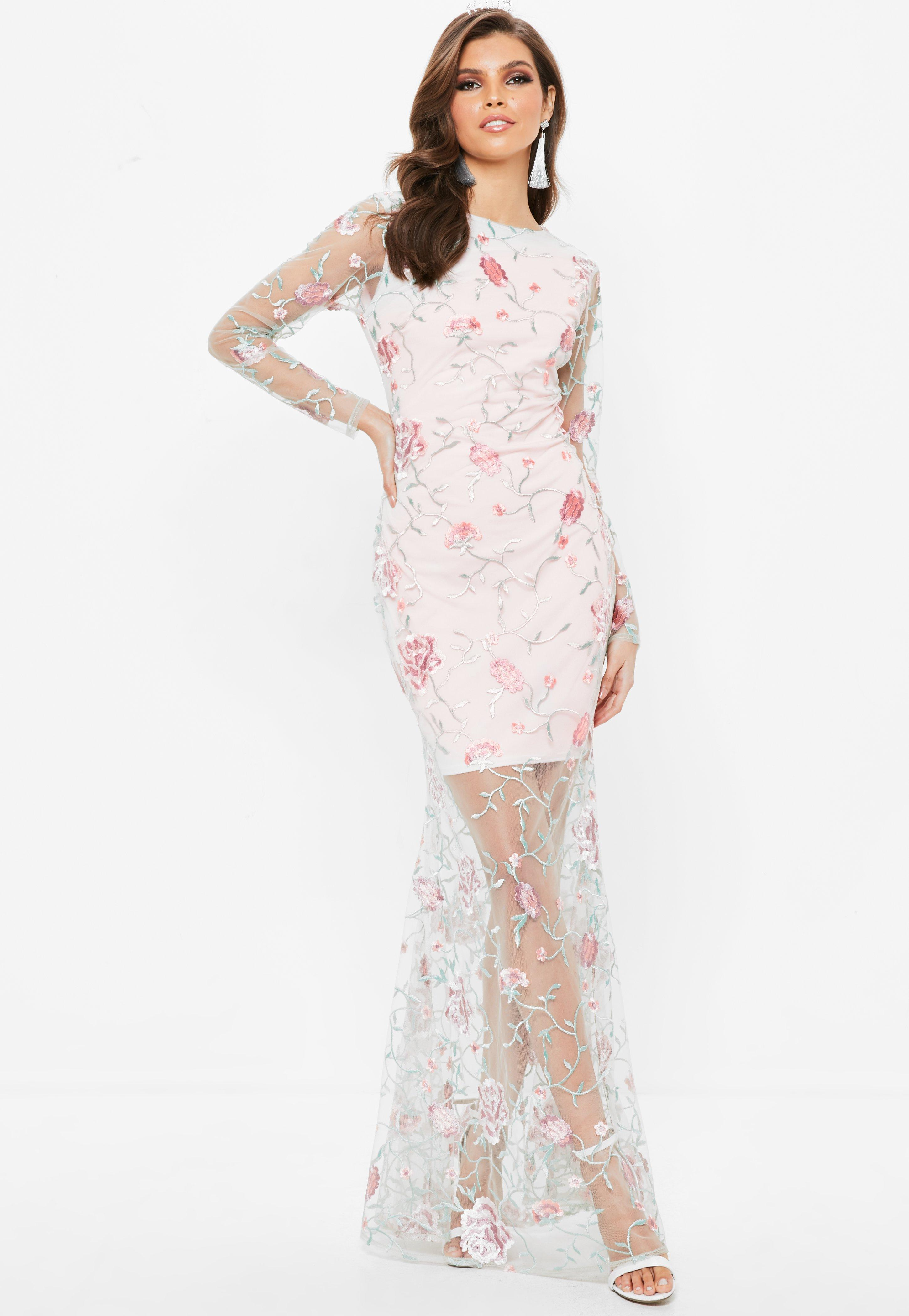 Missguided Nude Embroidered Lace Long Sleeve Maxi Dress in