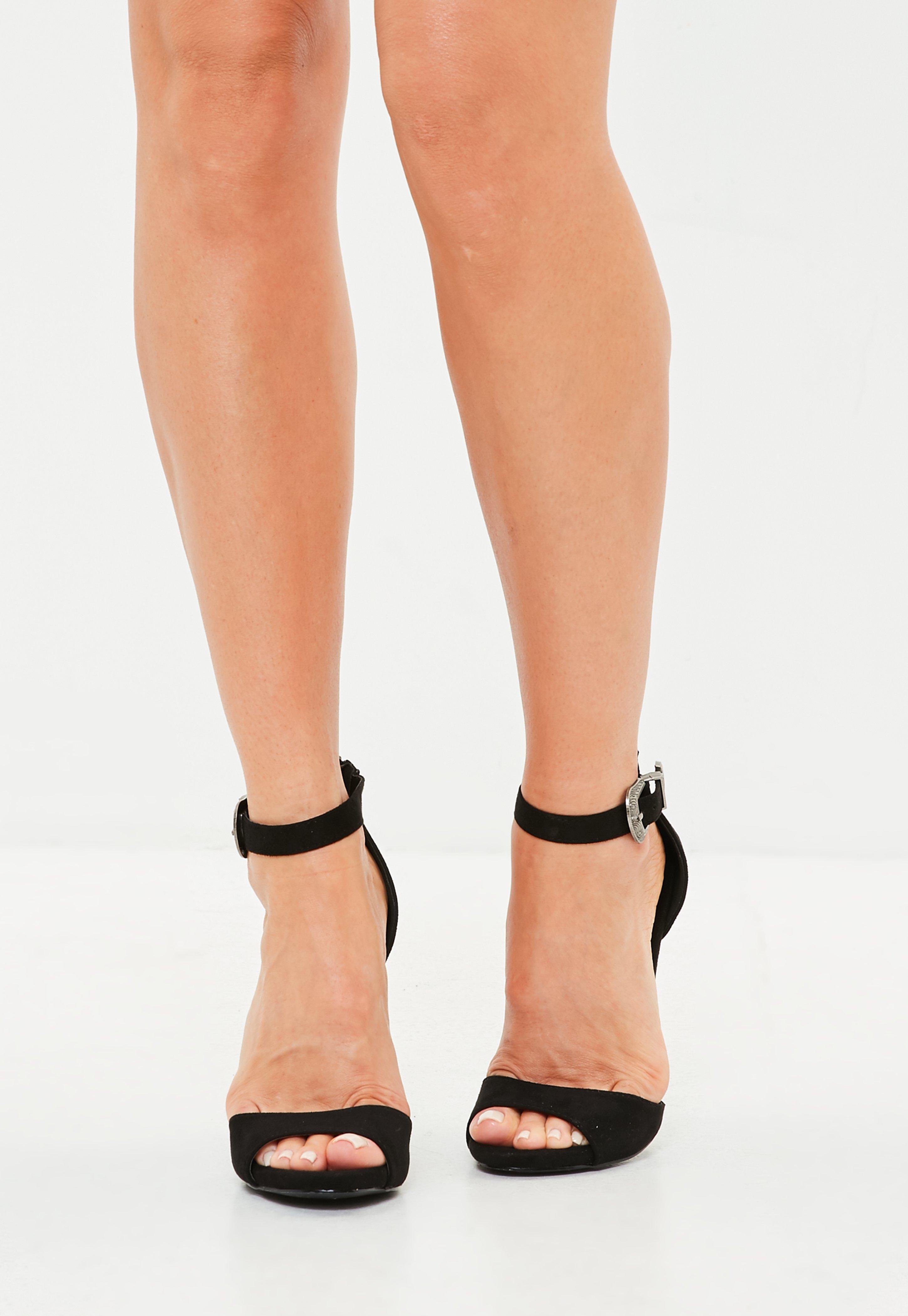3a57a0c53e1 Missguided - Black Western Buckle High Heel Sandals - Lyst. View fullscreen