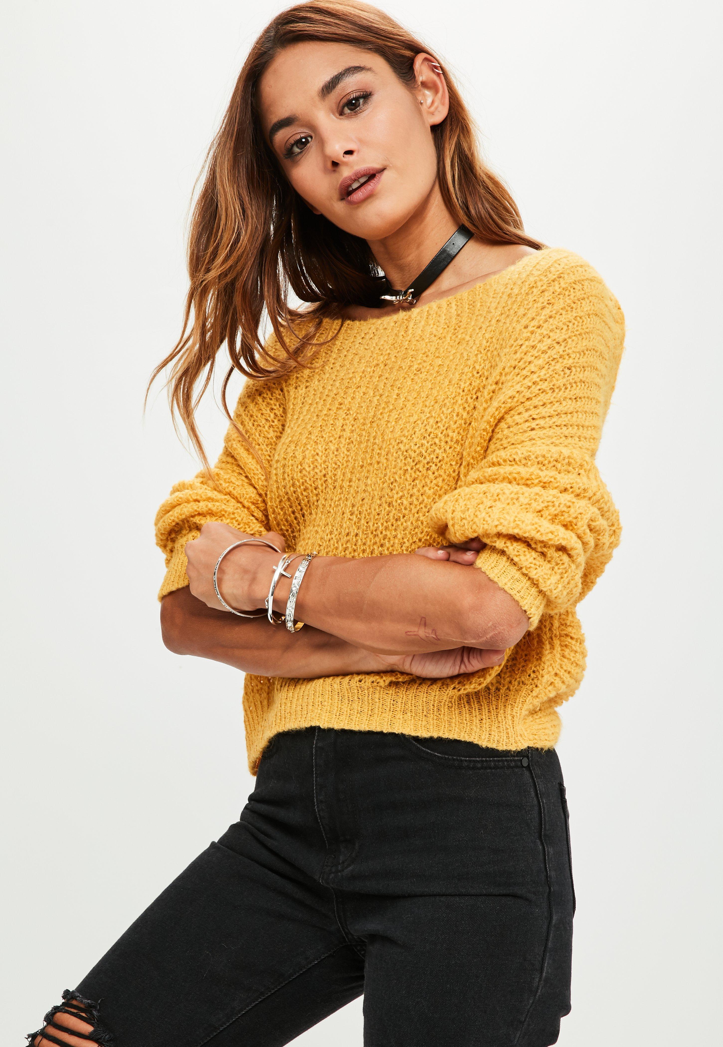 Missguided Mustard Fluffy Yarm Twist Back Oversized Sweater in ...