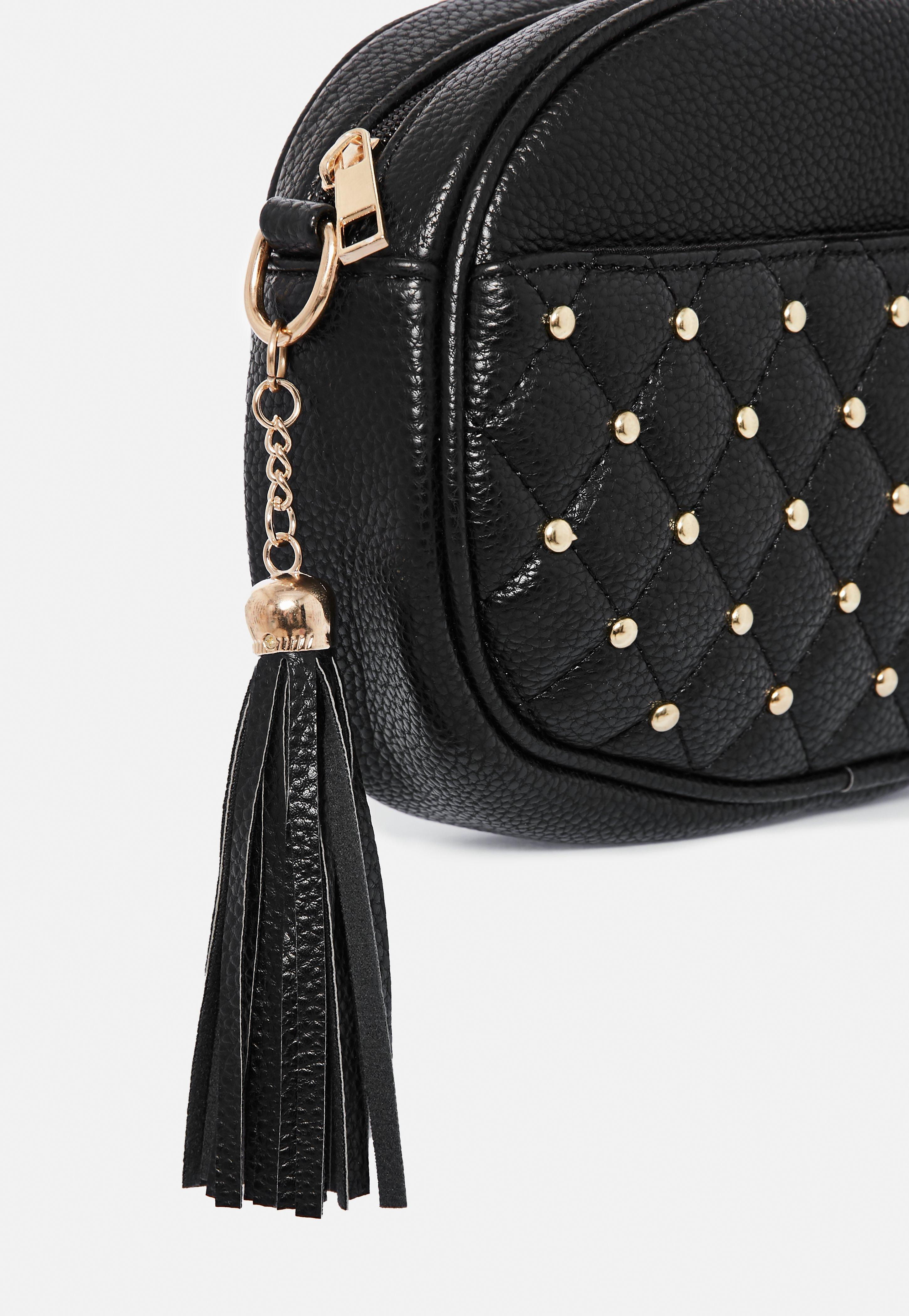 Missguided Black Oval Gold Stud Cross Body Bag