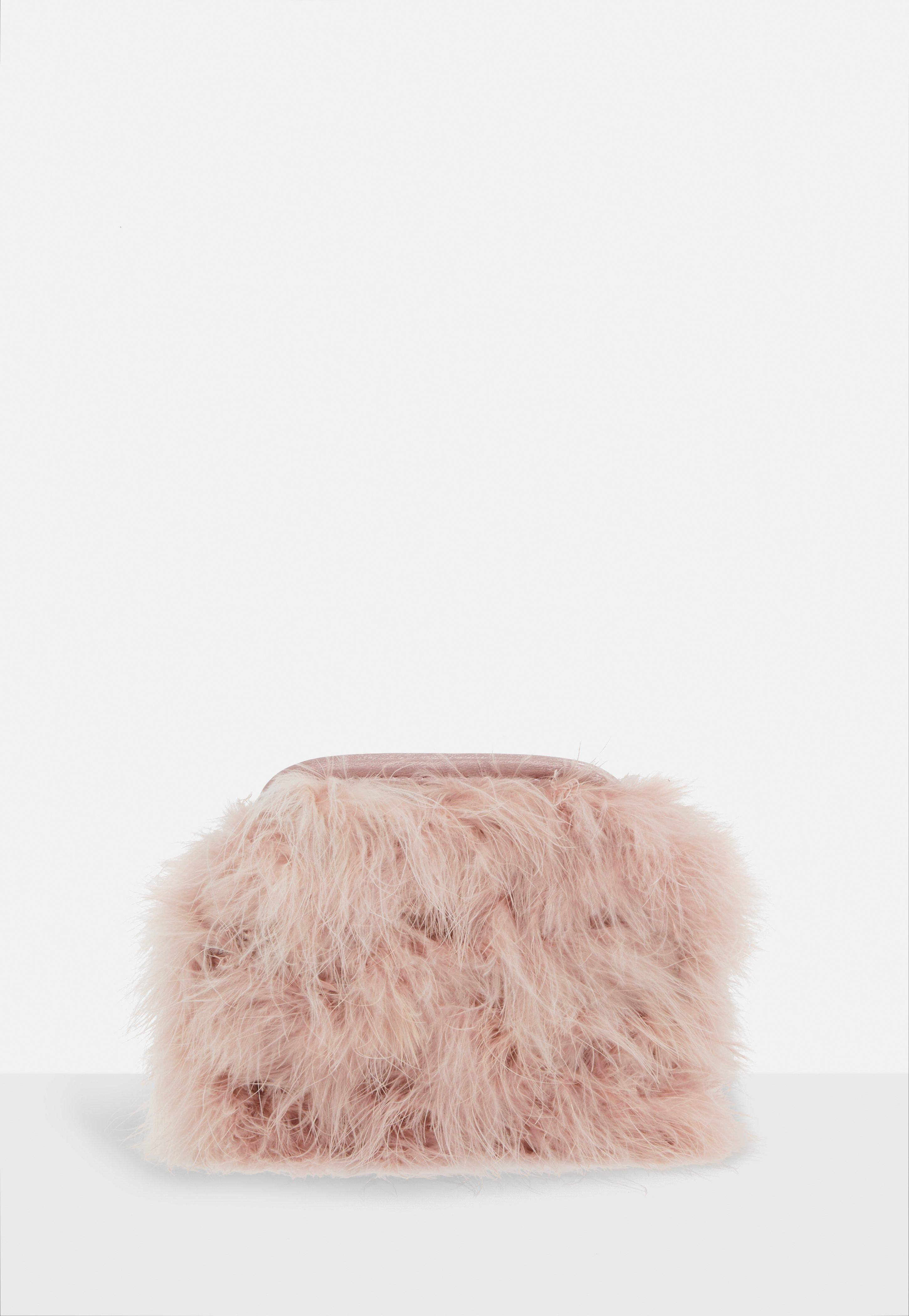 593e3d6c3d Missguided - Pink Blush Round Feather Clutch Bag - Lyst. View fullscreen