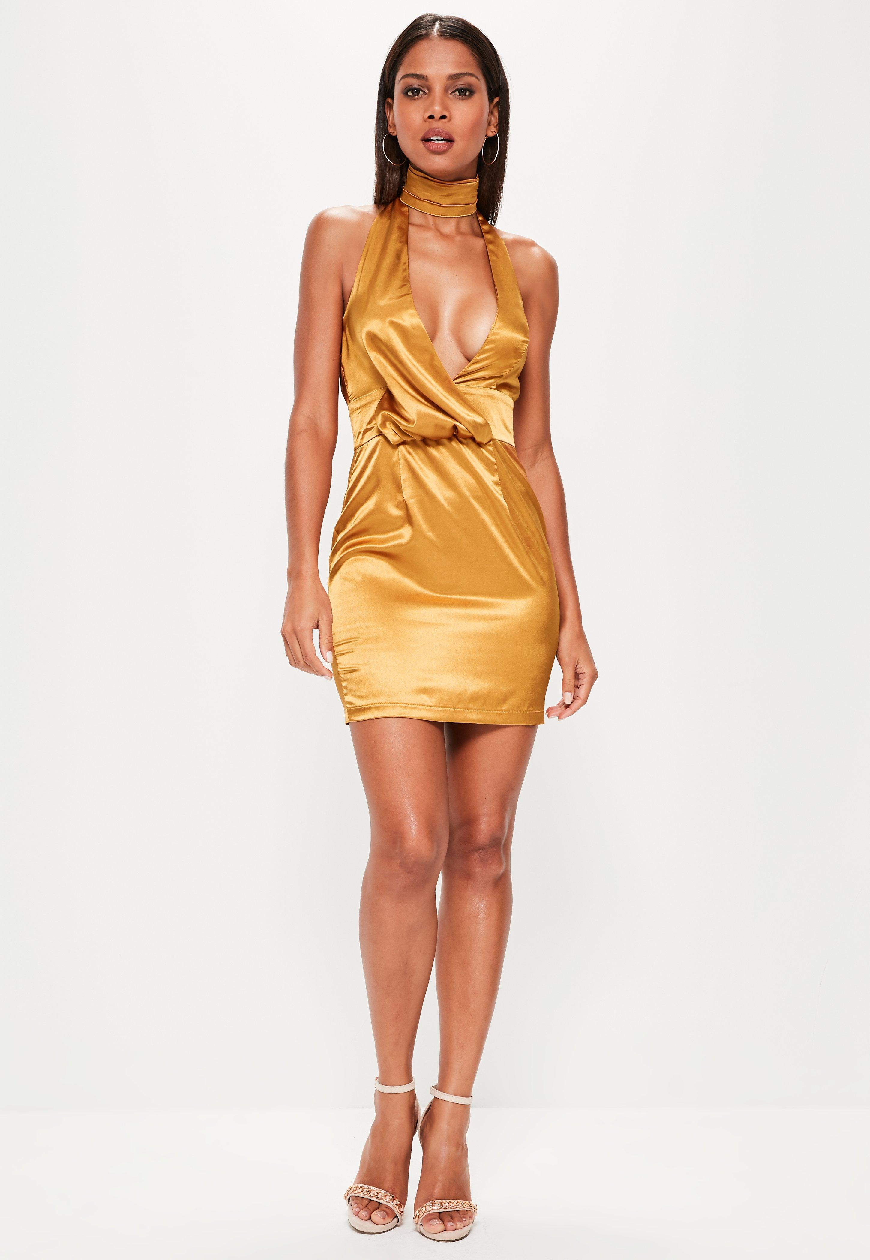 Lyst - Missguided Gold Silky Drape Choker Shift Dress in Metallic ab31da08e