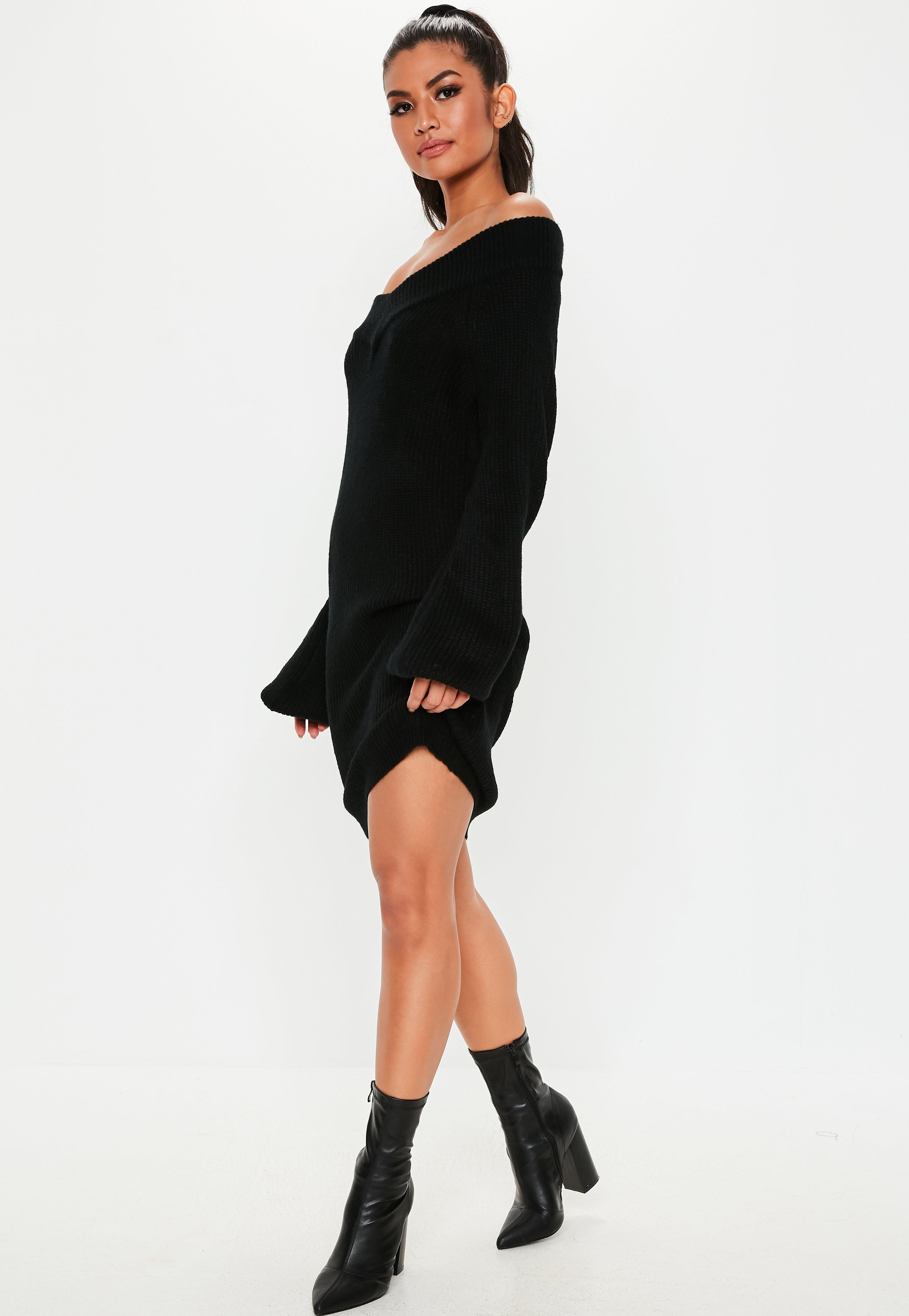 83fc3ed3410 Missguided Petite Black V Neck Sweater Dress in Black - Save 52% - Lyst