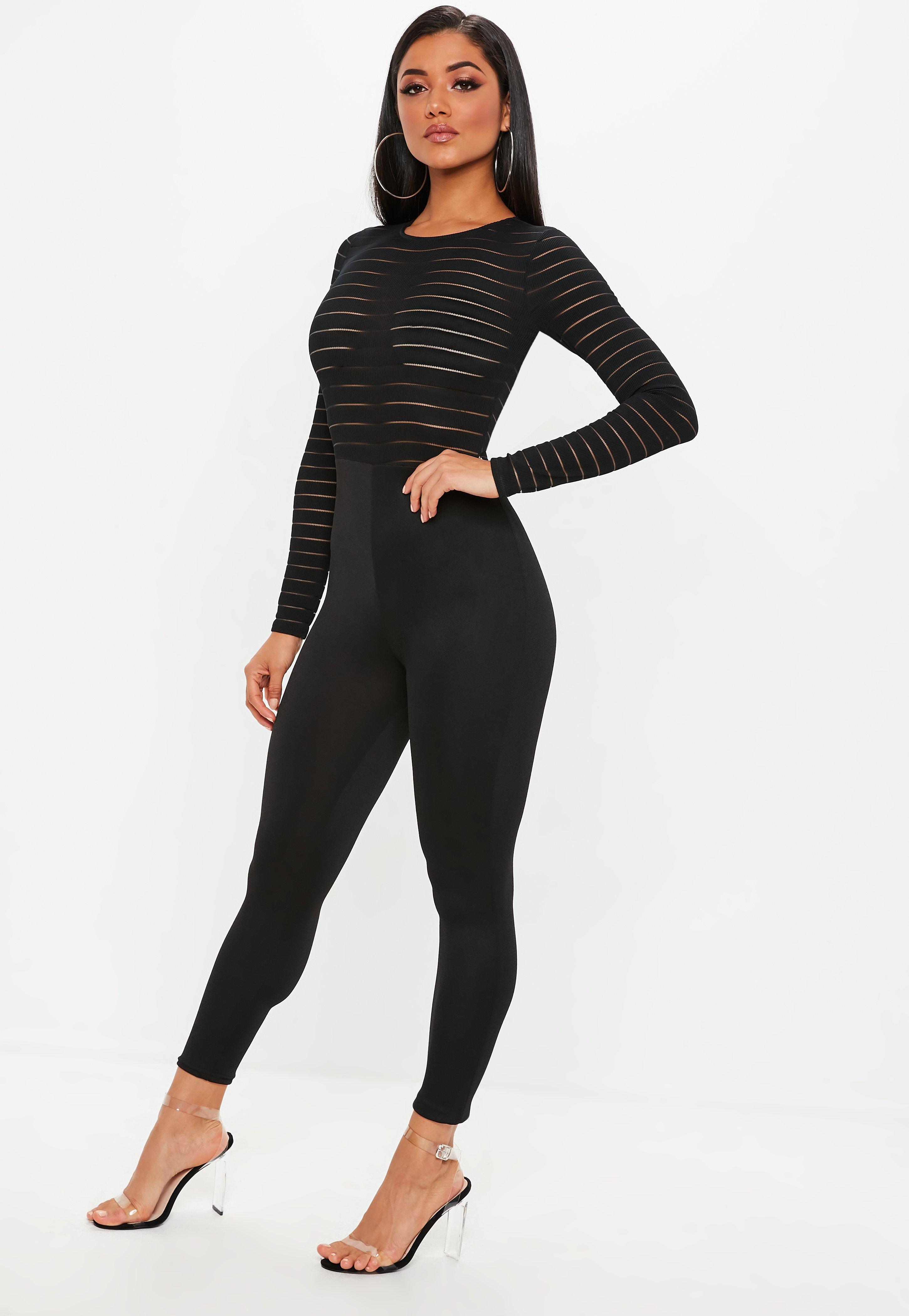 5d64f2bd6ef9 Missguided Black Burn Out Mesh Jumpsuit in Black - Lyst