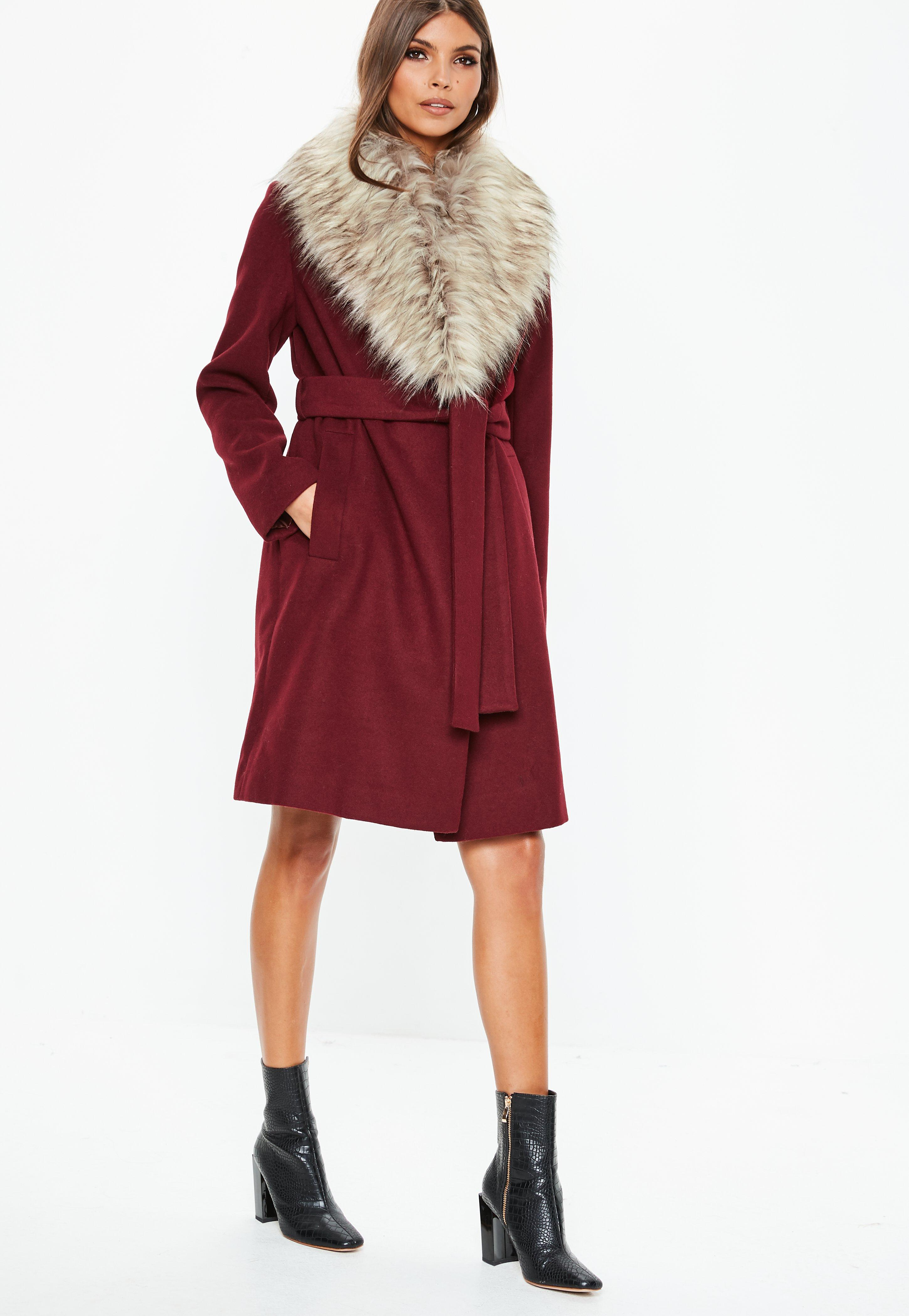 a33ae73e86b8 Missguided - Red Burgundy Faux Fur Collar Coat - Lyst. View fullscreen
