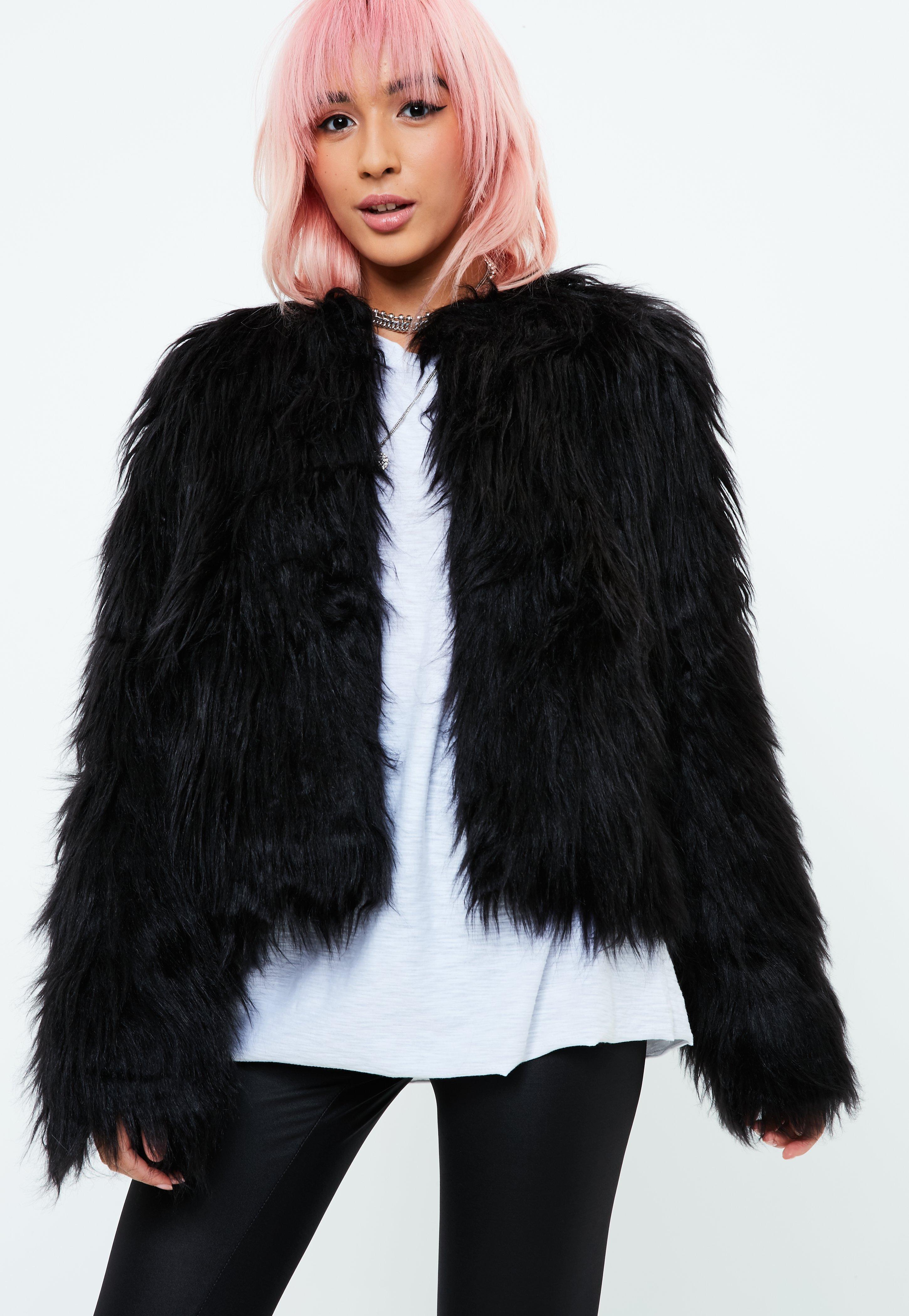 2cb7a93069809 Missguided Black Shaggy Faux Fur Coat in Black - Lyst