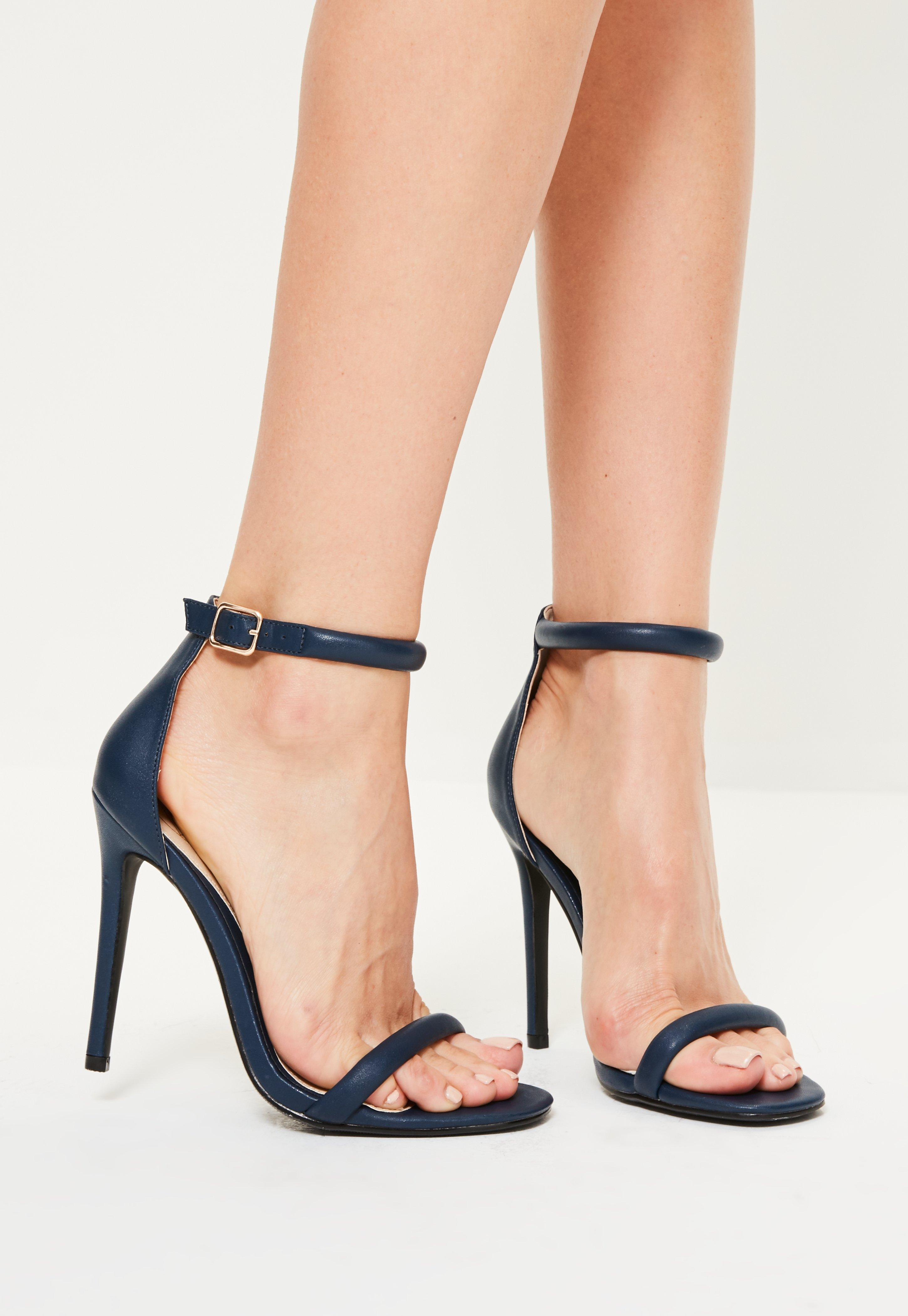 7720eb7362b1 Lyst - Missguided Navy Rounded Strap Barely There Heels in Blue