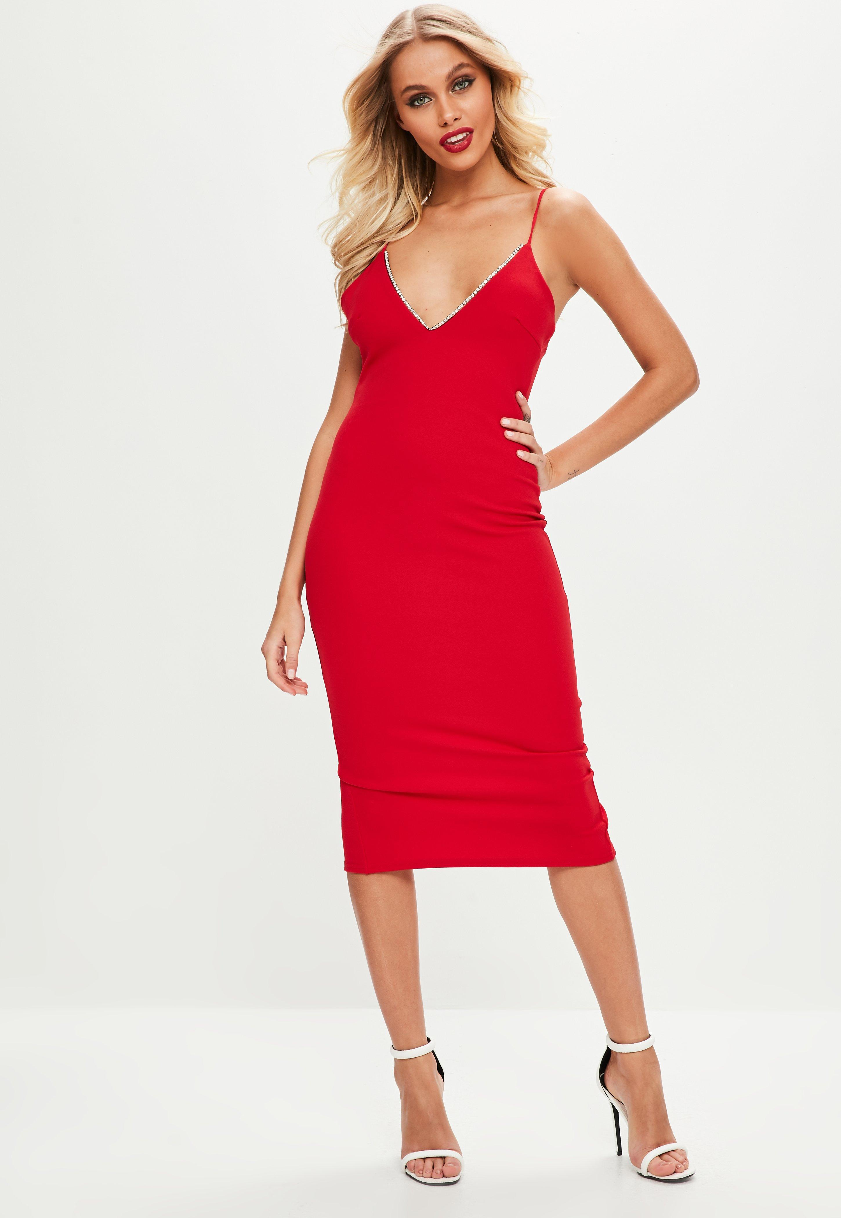 Missguided Red Scuba Diamante Plunge Midi Dress in Red - Lyst fbf8c4a3d
