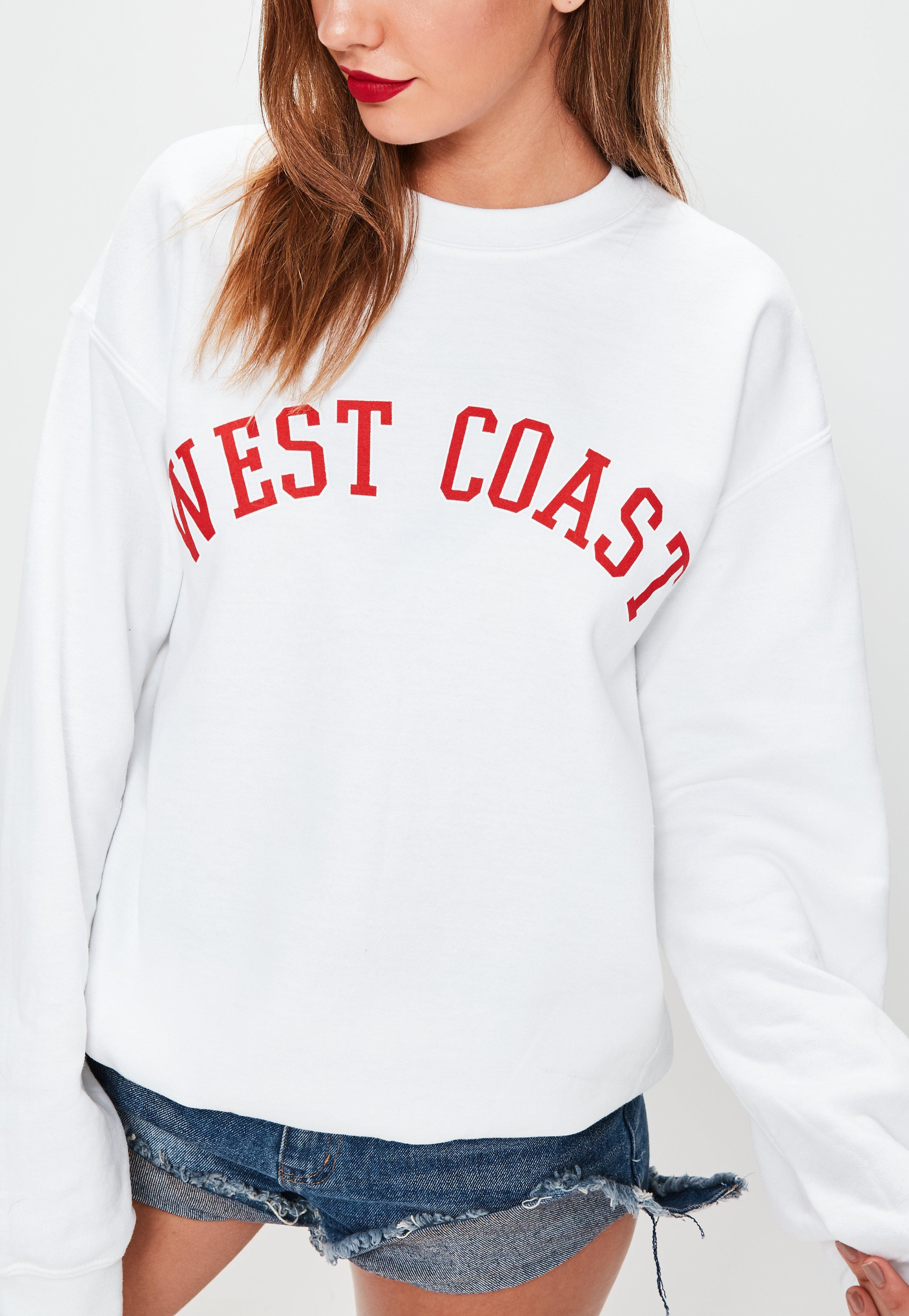 new release picked up new style Missguided White West Coast Slogan Sweatshirt - Lyst