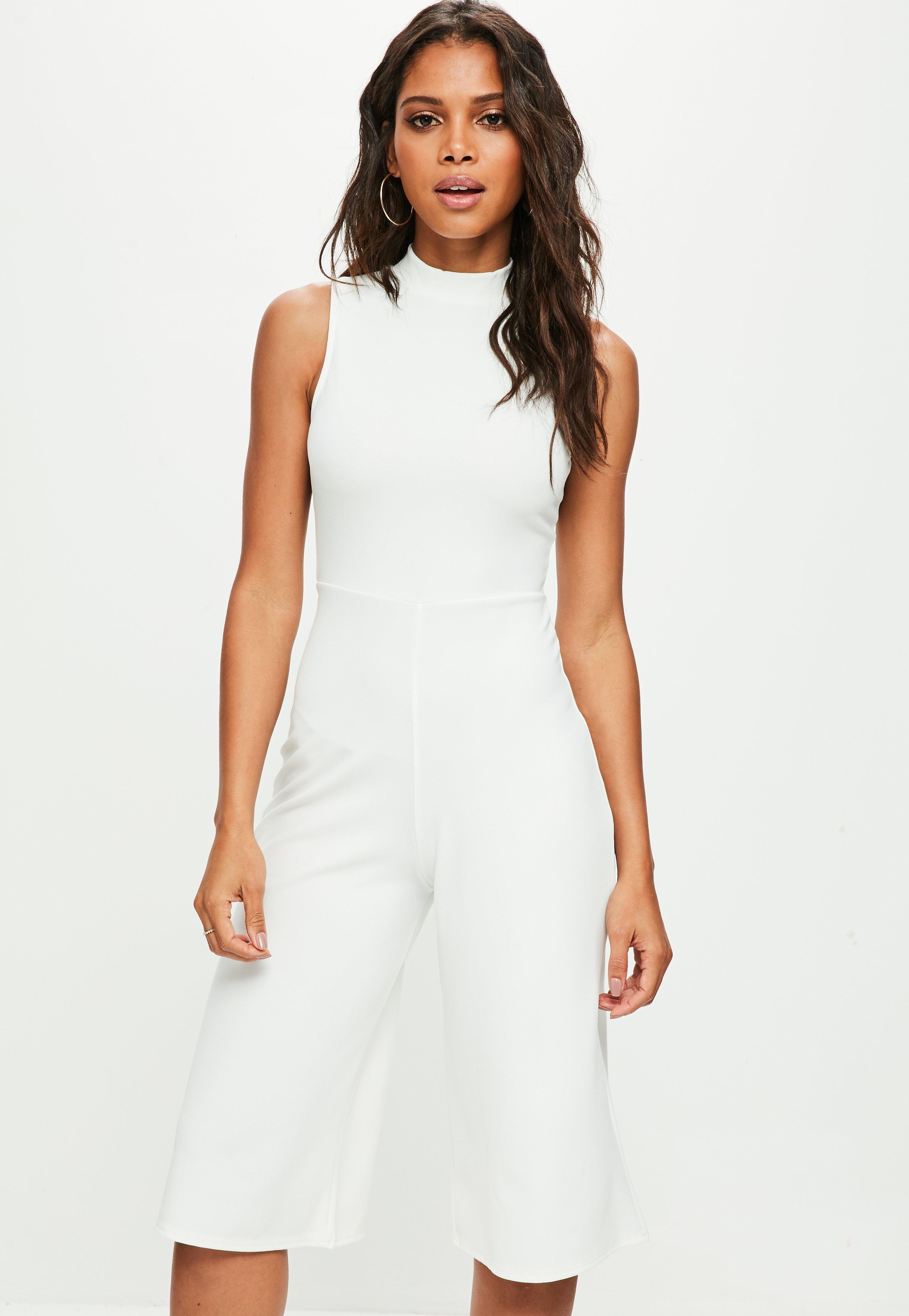 fd976338ef8f Missguided White High Neck Kick Flare Jumpsuit in White - Lyst
