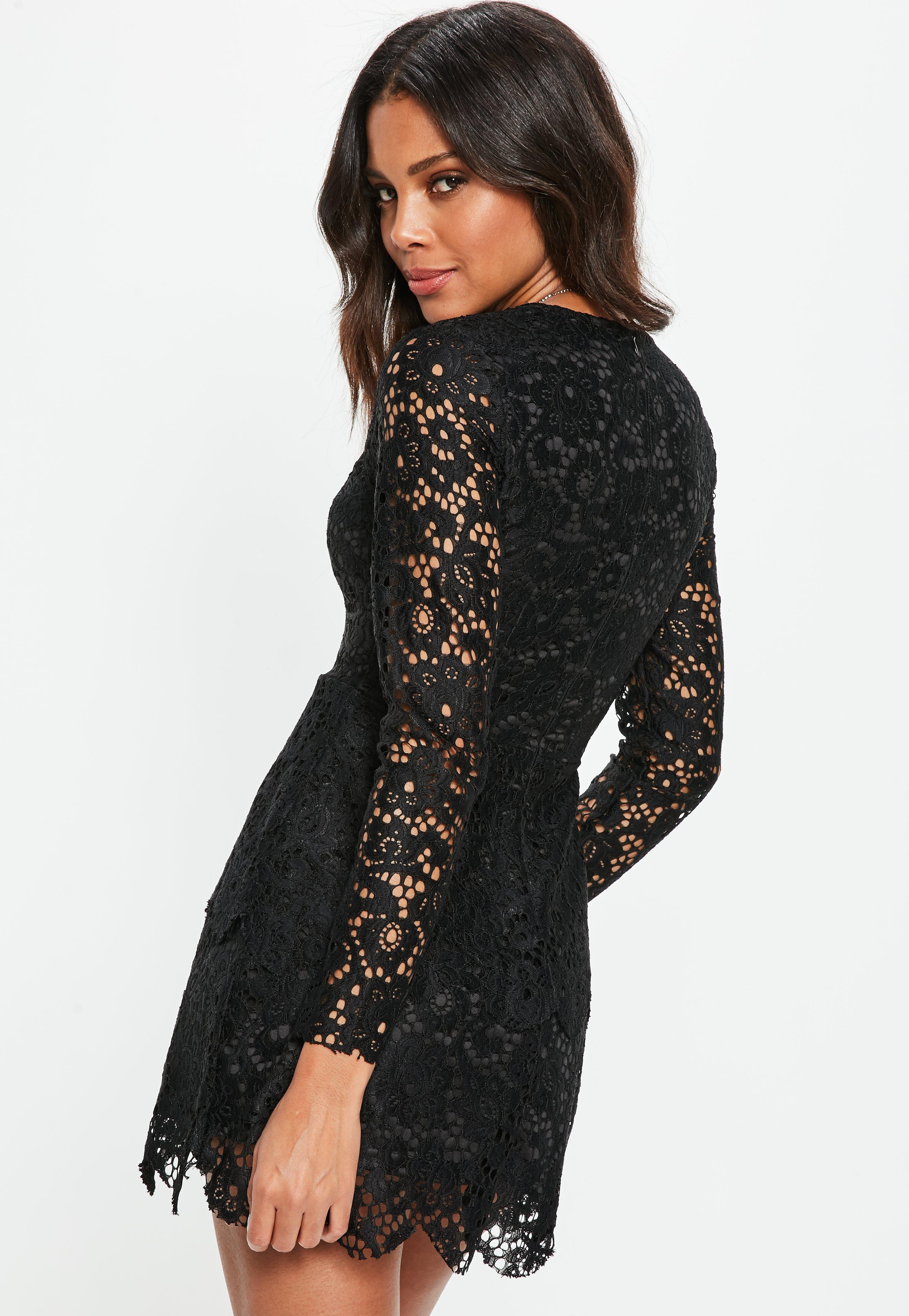 90cd492995b2 Missguided Black Lace Plunge Frill Layer Skater Dress in Black - Lyst