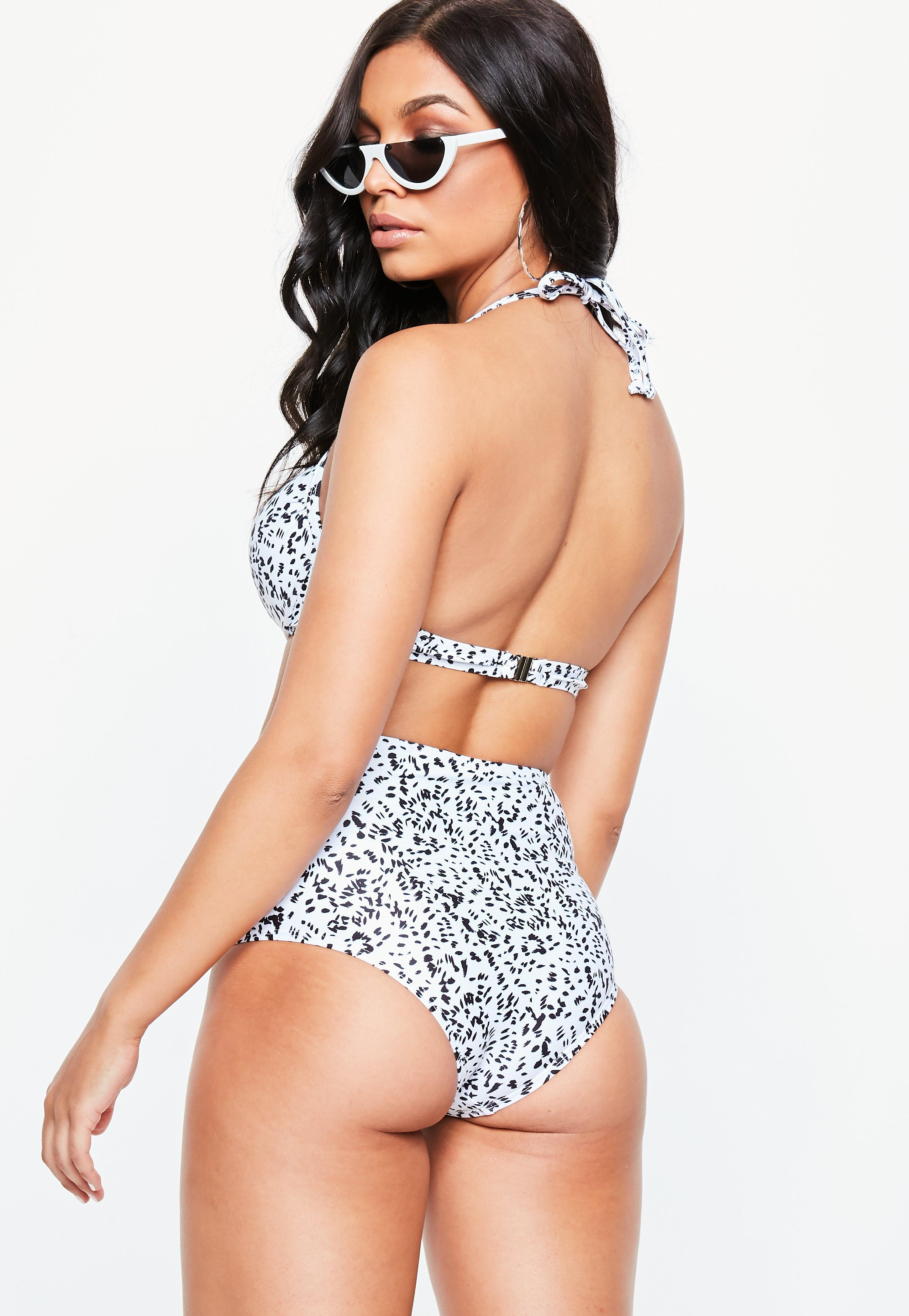 7914827be0 Missguided - White Animal Print High Waist Bikini Brief - Mix   Match -  Lyst. View fullscreen