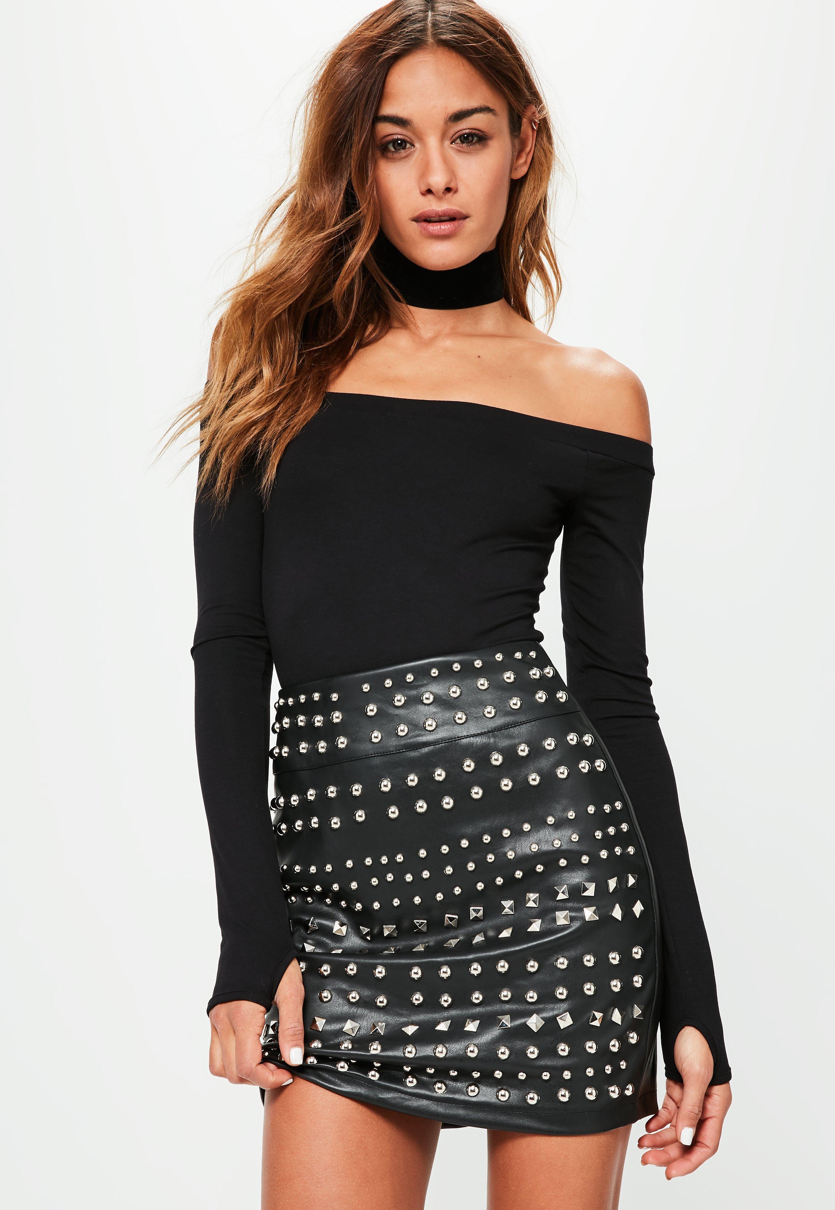 67d77b2b74 Missguided Black Bardot Long Sleeve Bodysuit in Black - Save ...