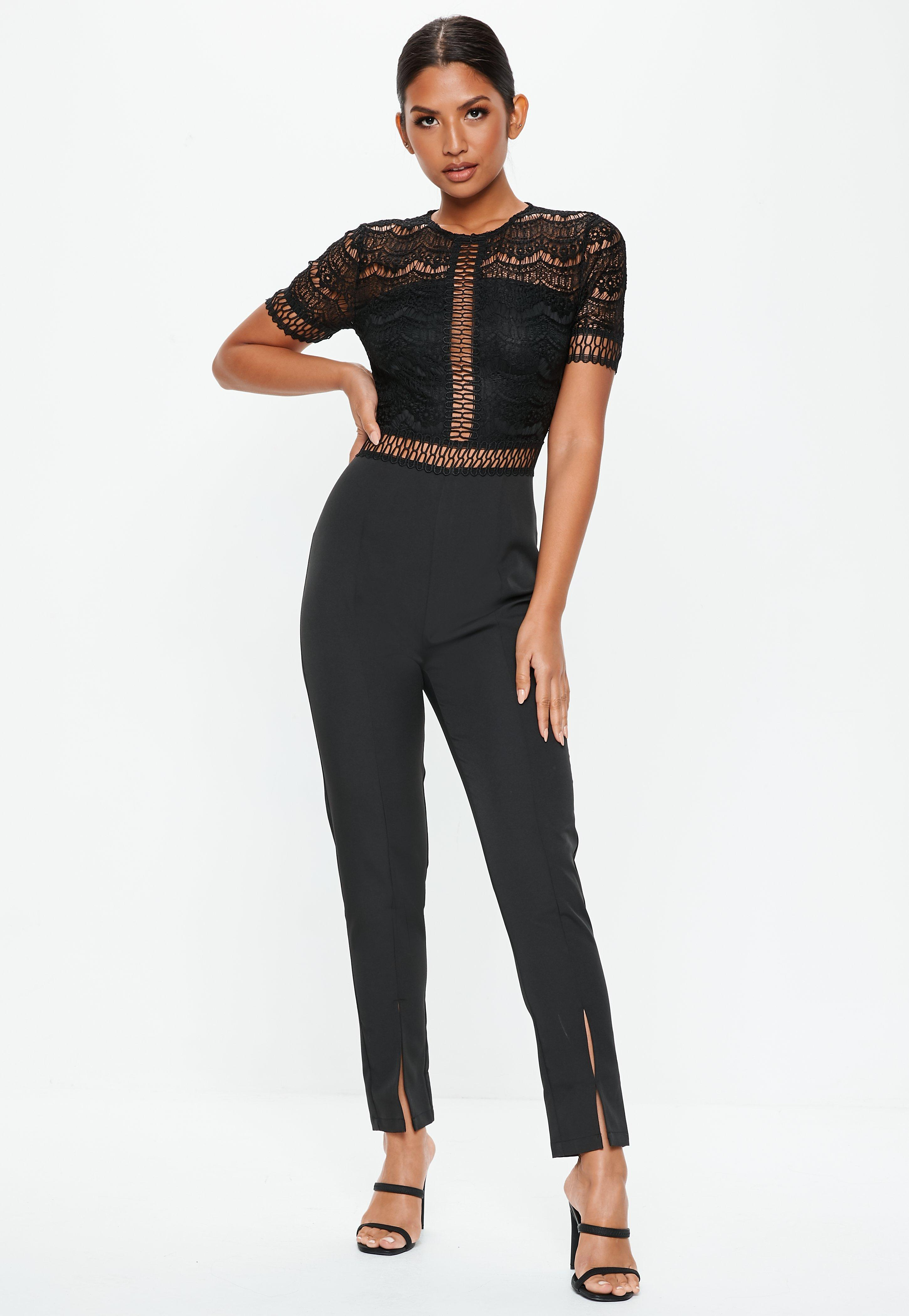 d64daf53afd9 Lyst - Missguided Black Lace Top Cigarette Trouser Jumpsuit in Black