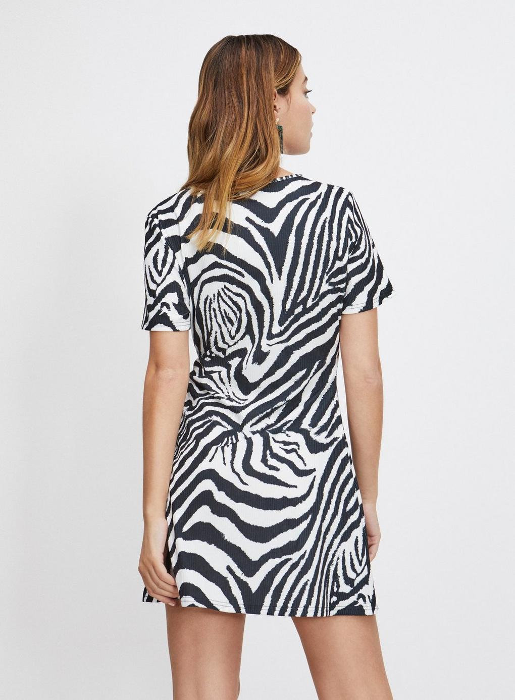 0754aedc3f Miss Selfridge - Petite Black Zebra Print Ribbed Wrap Dress - Lyst. View  fullscreen