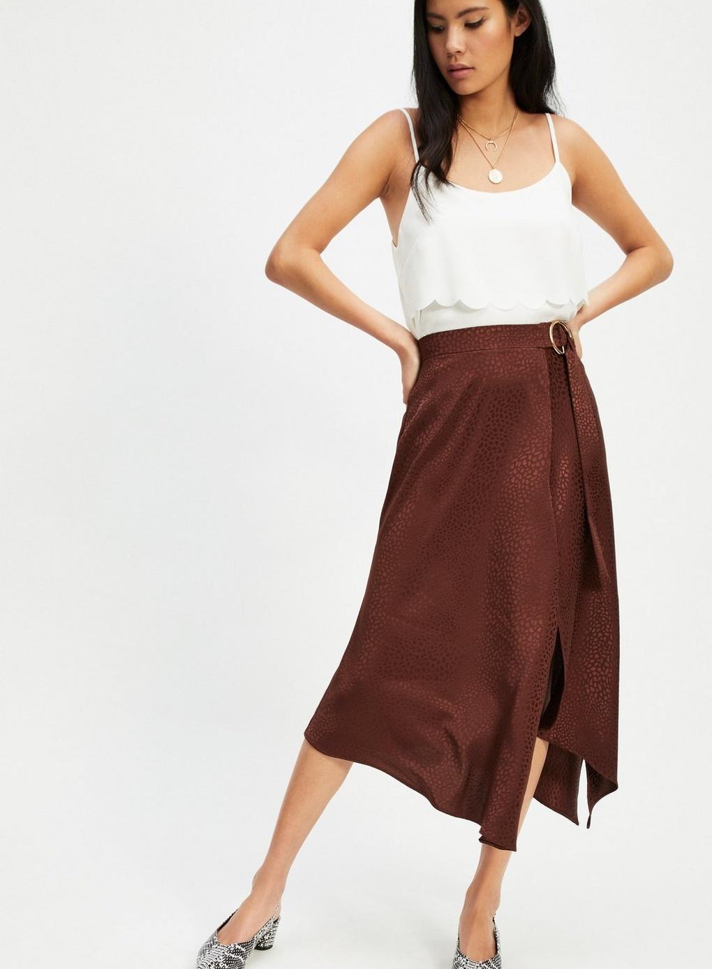 Miss Selfridge Chocolate Jacquard Midi Skirt in Brown - Lyst 0bc34c89a
