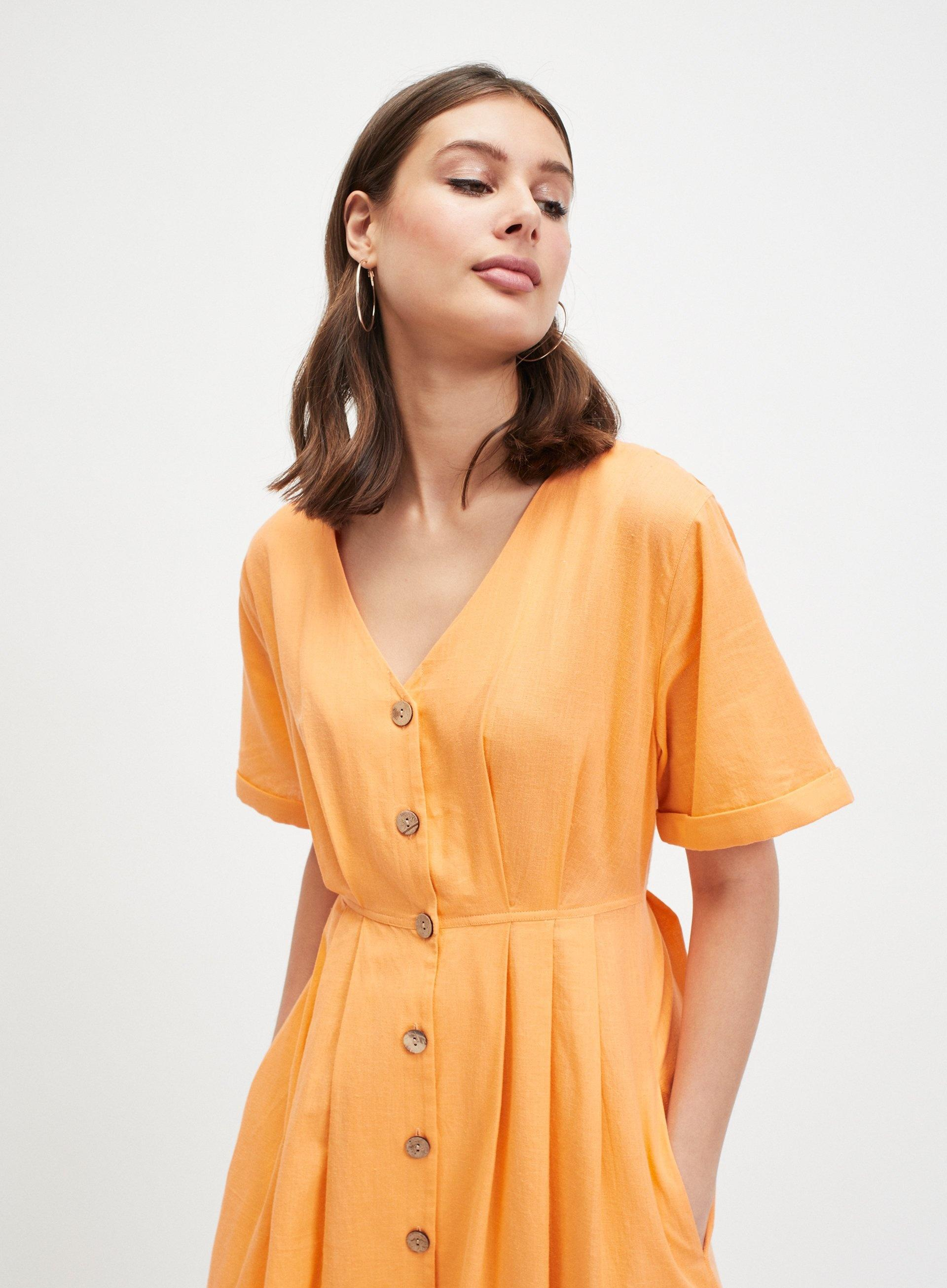 fecc25df0e6a Miss Selfridge Coral Button Front Midi Dress in Orange - Lyst