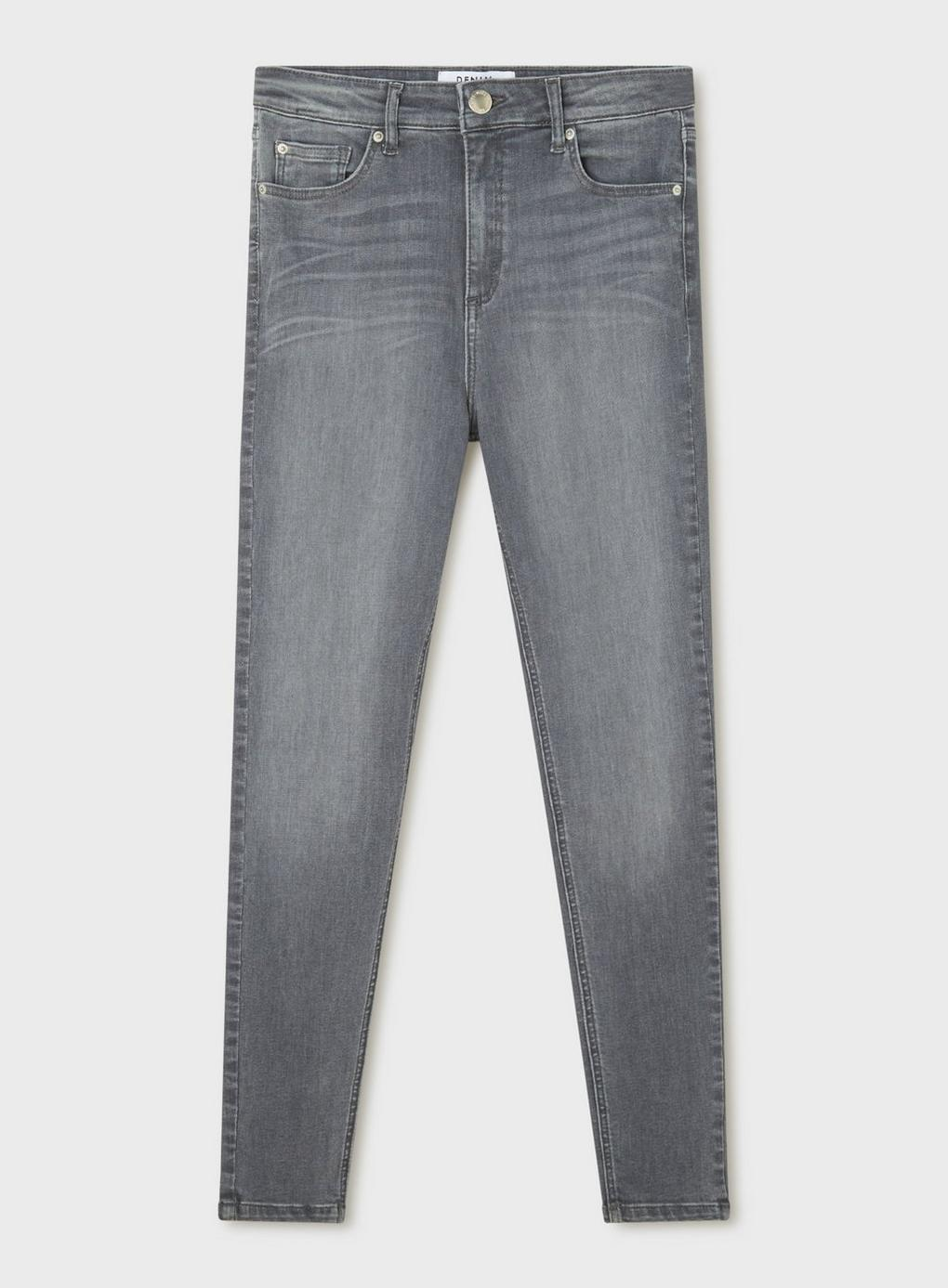 Miss Selfridge Denim Lizzie High Waist Super Skinny Grey Jeans in Grey