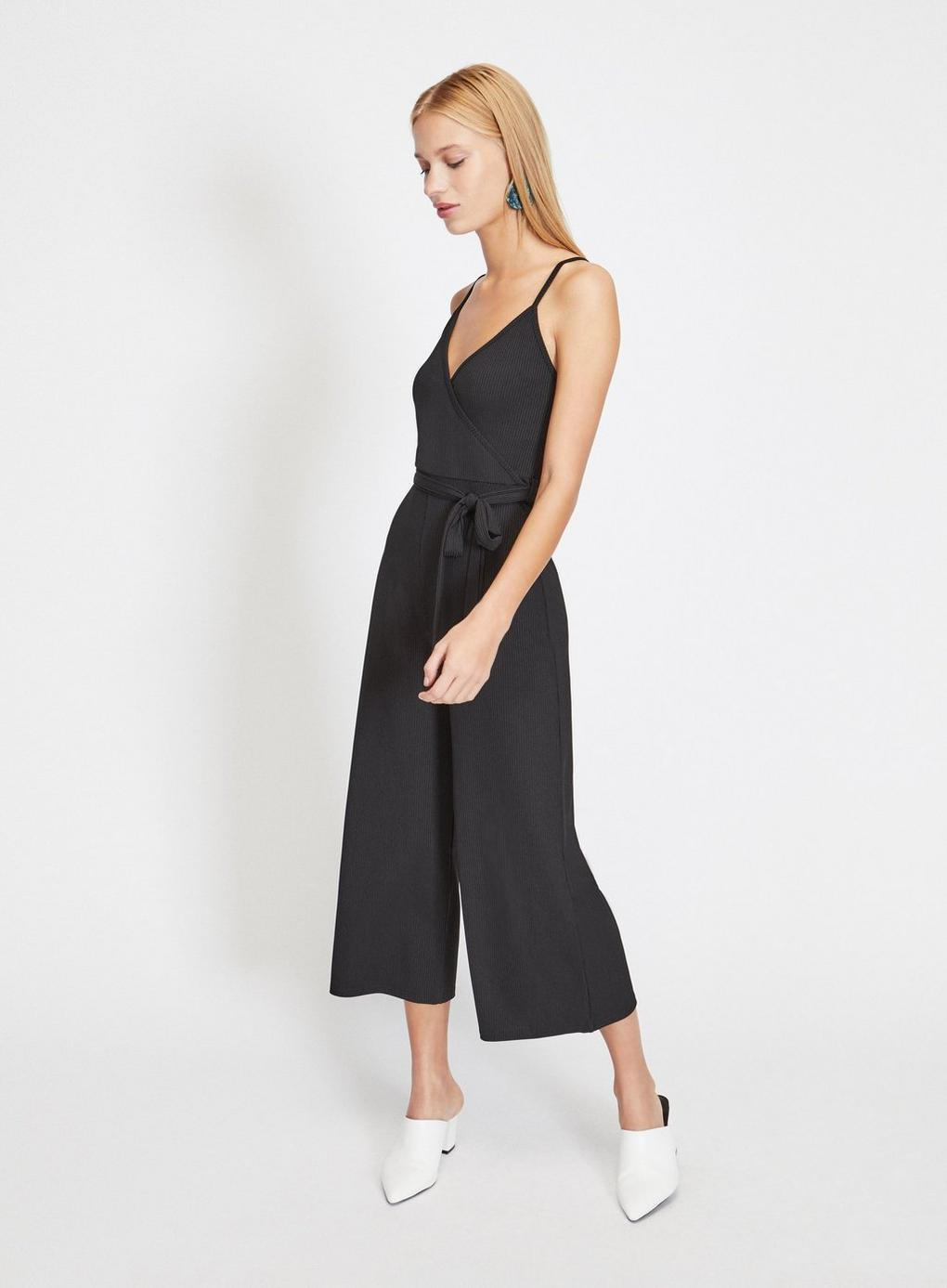 a2d3e678649 Miss Selfridge Wrap Front Ribbed Culottes Jumpsuit in Black - Lyst