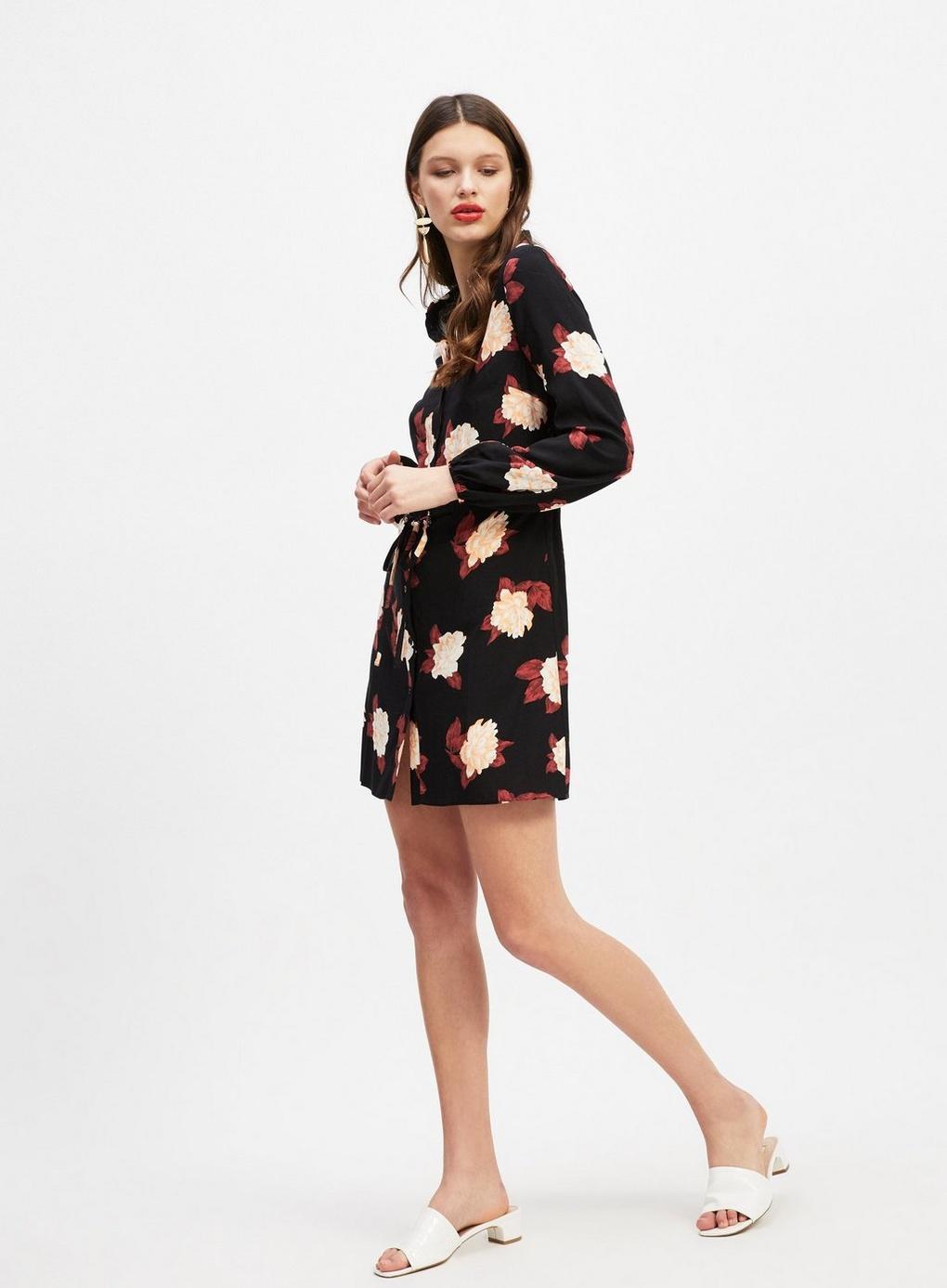 4deb292fe7c Lyst - Miss Selfridge Black Floral Print Mini Shirt Dress in Black