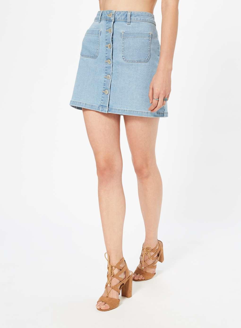 miss selfridge denim skirt in blue lyst