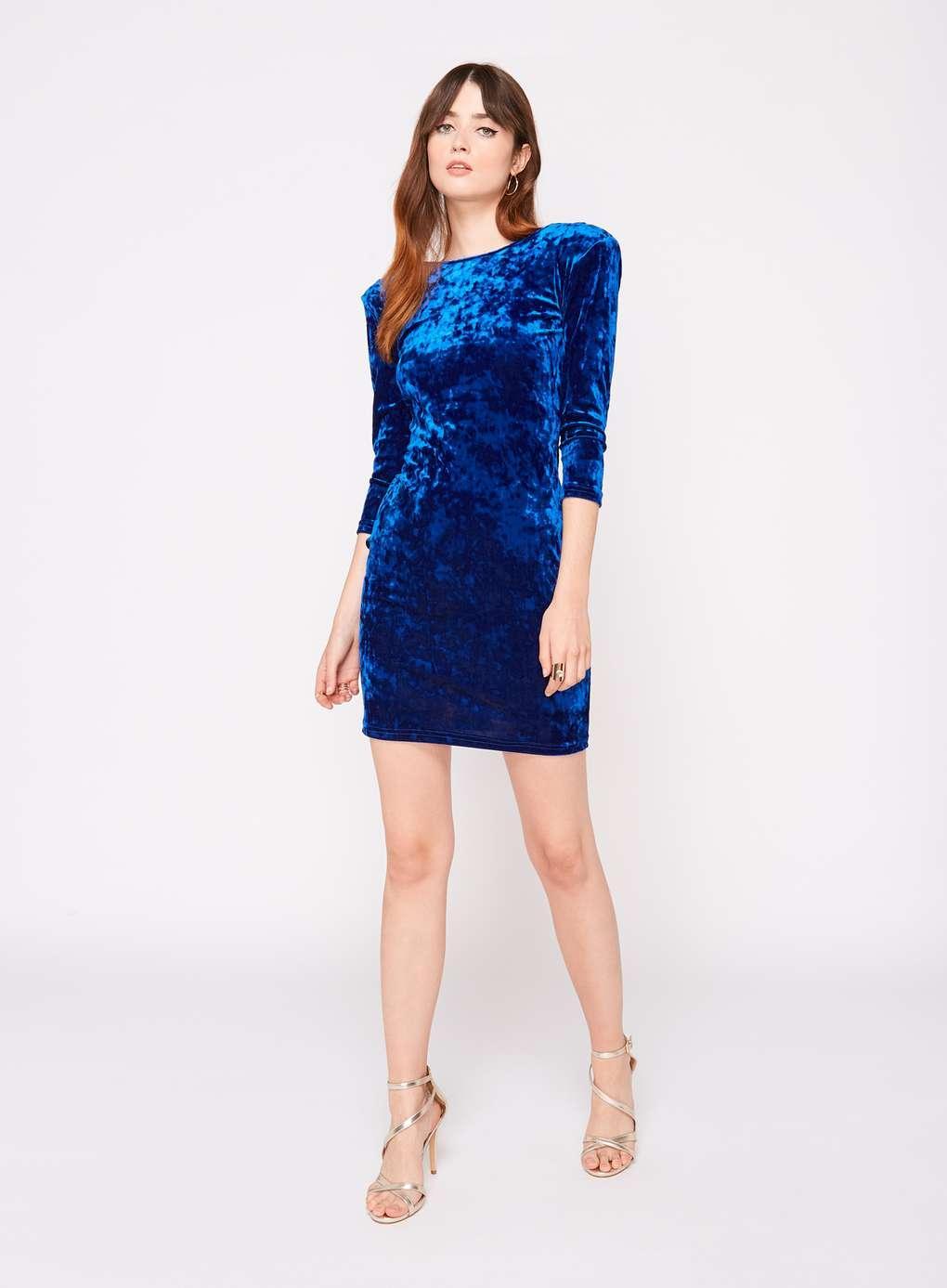 Lyst Miss Selfridge Blue 3 4 Sleeve Velvet Dress In Blue