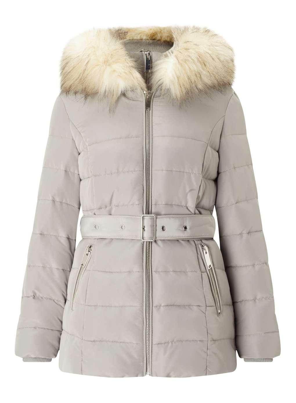 Miss Selfridge Silver Belted Puffer Coat In Metallic Lyst