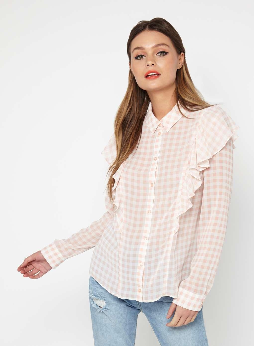 Lyst miss selfridge gingham ruffle shirt in pink for Pink gingham shirt ladies