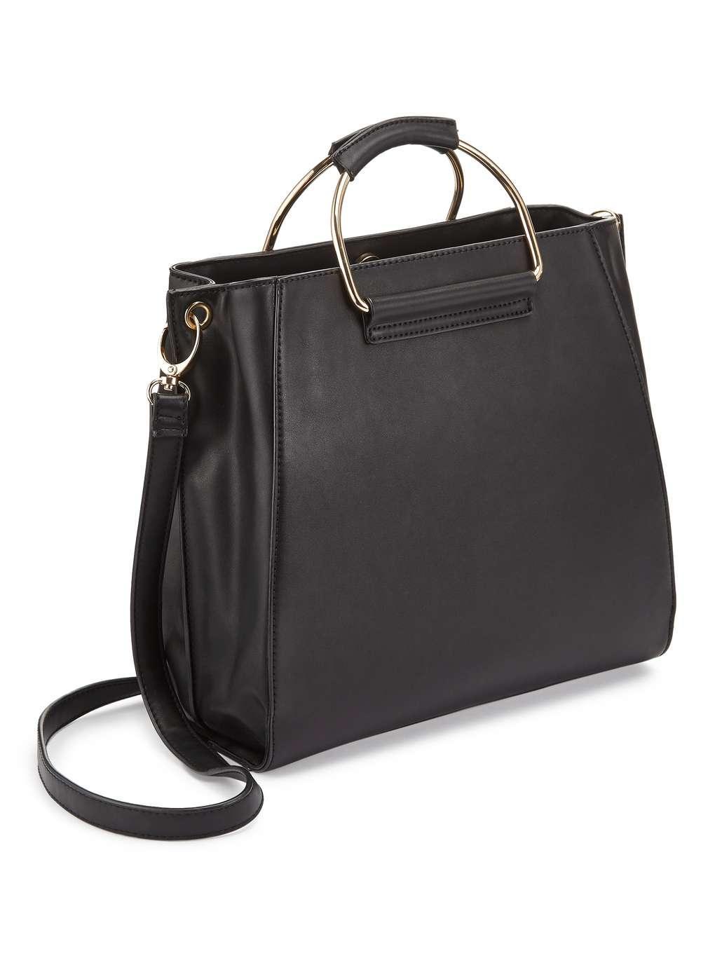 Miss Selfridge Black O Ring Metal Tote Bag