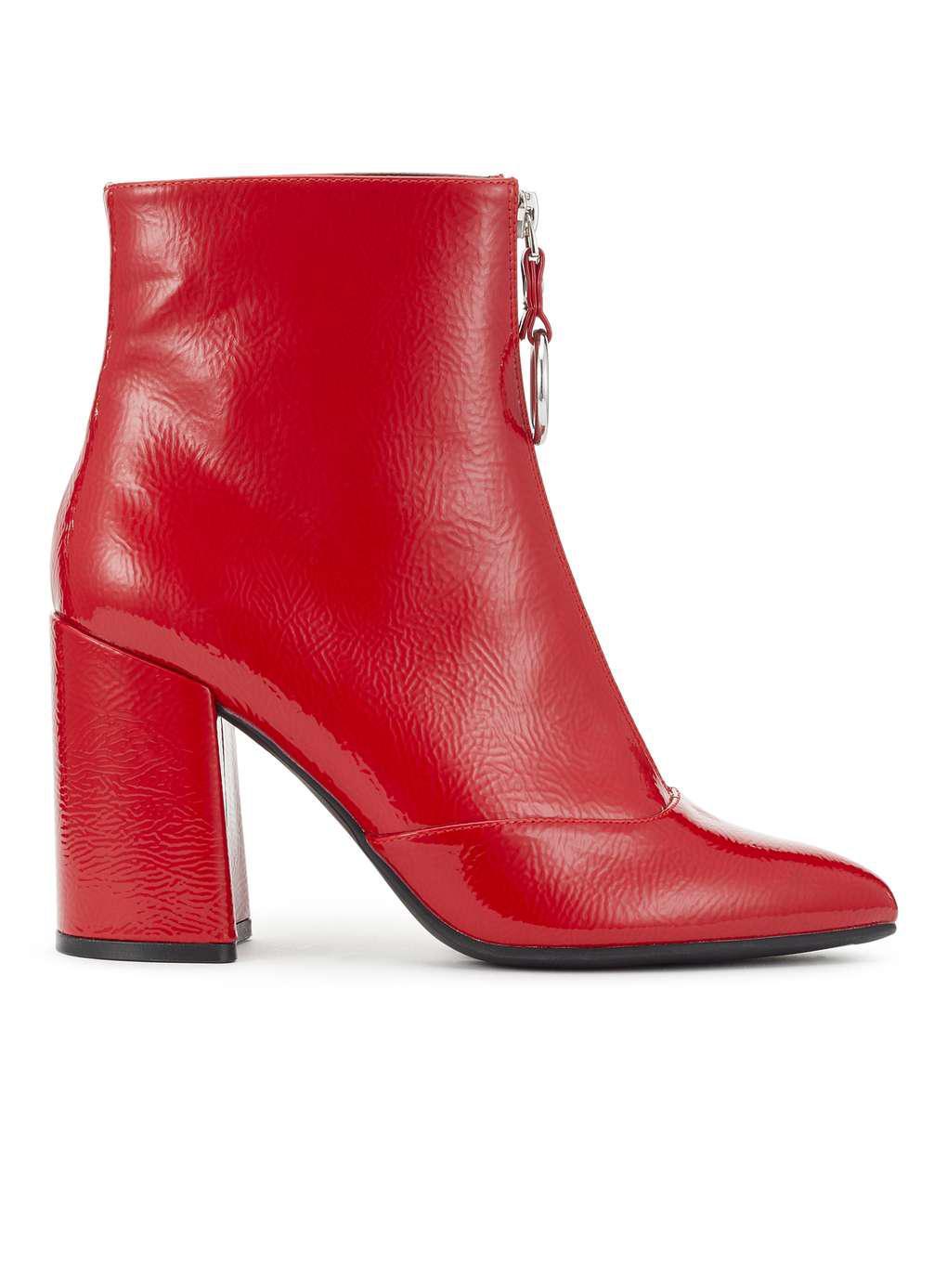 Miss Selfridge Darla Crinkle Red Zip Boots Lyst