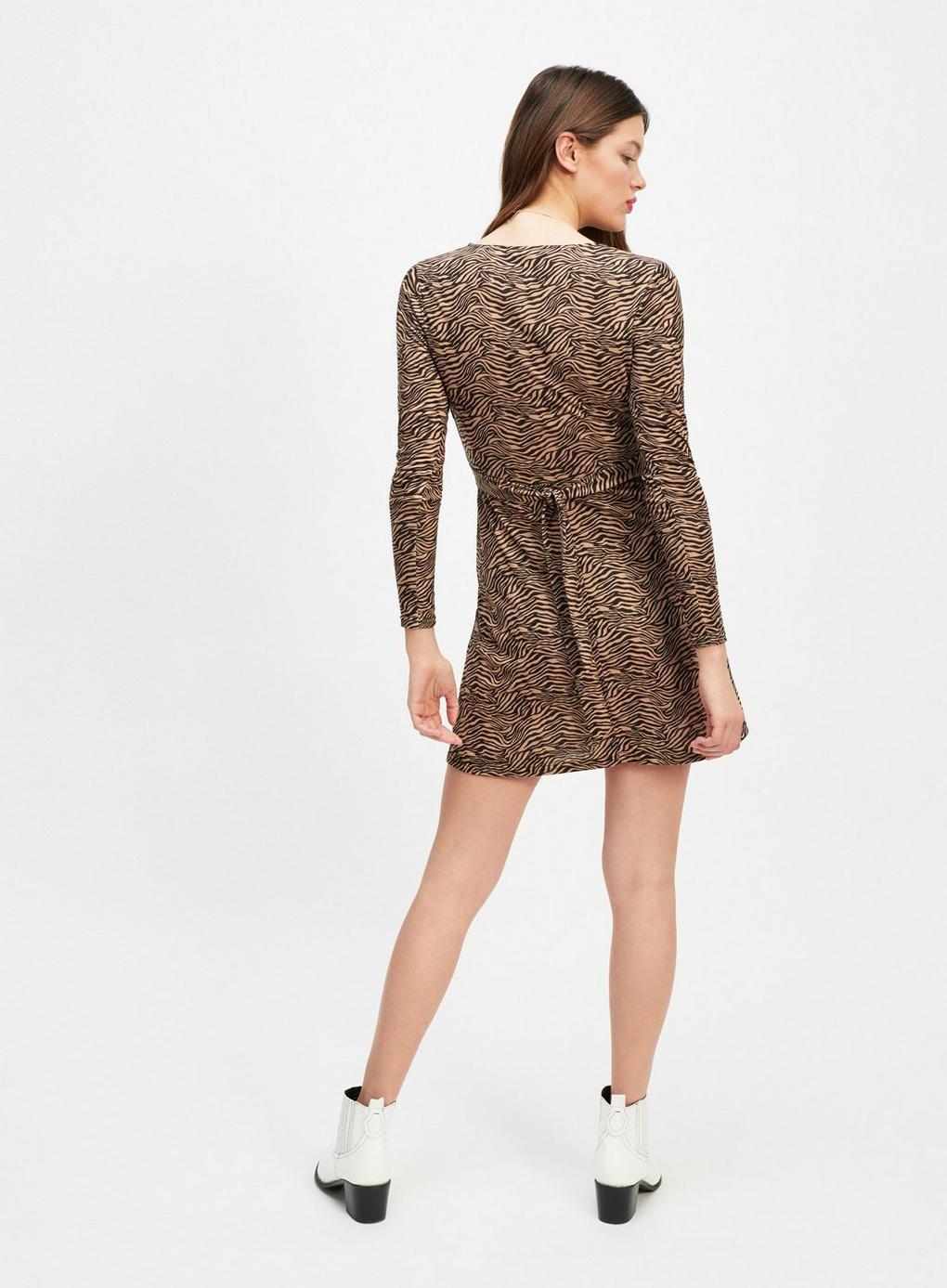 63ba2d0189 Miss Selfridge - Brown Zebra Print Wrap Mini Dress - Lyst. View fullscreen