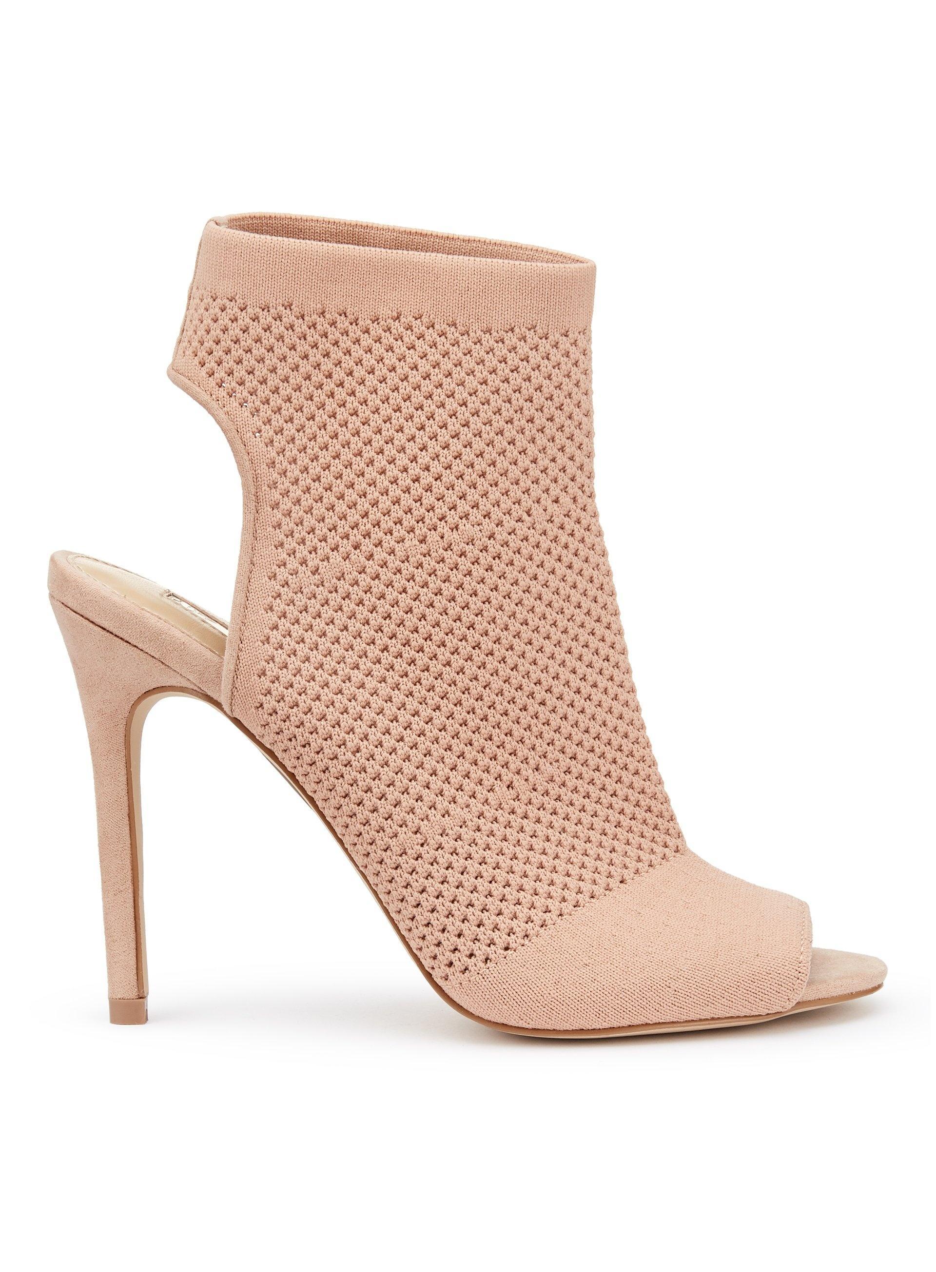 9f04eab6909 Miss Selfridge Pink Nude Candy Knitted Peep Toe Heel Sandals